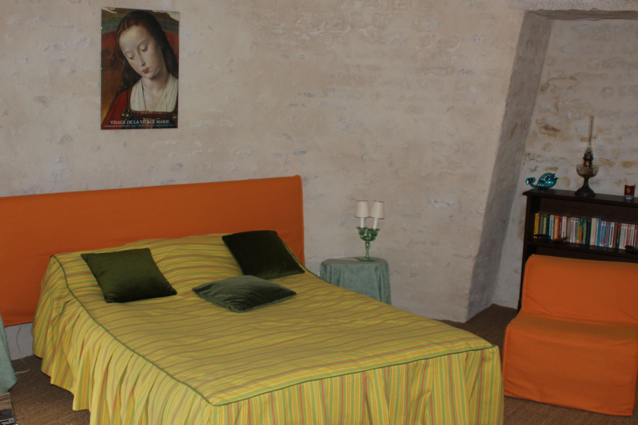 In the tower, bedroom with double bed upstairs