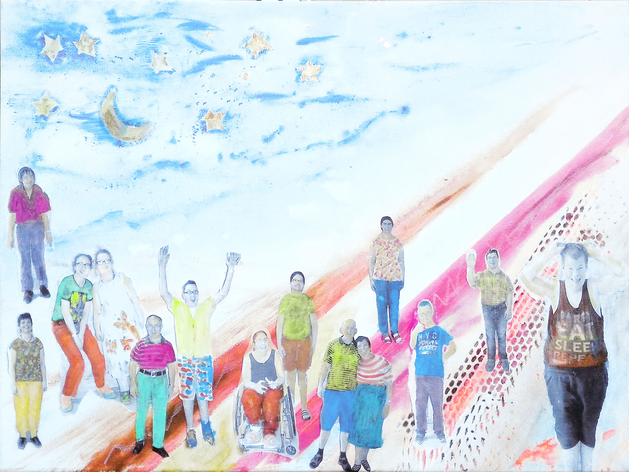 Freie kreative Collage Gruppenarbeit