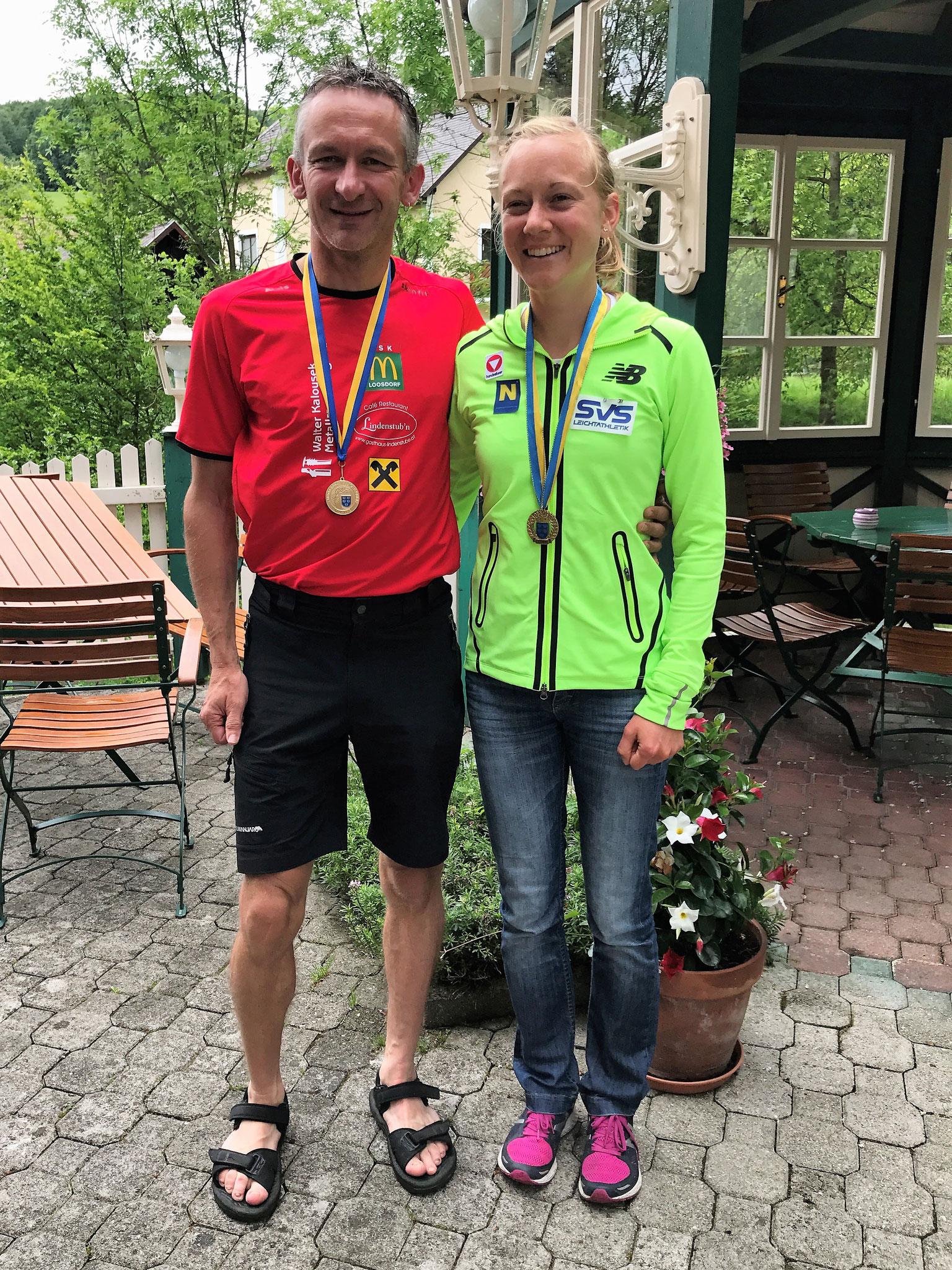 Alois holte sich neben dem Gesamtsieg auch den Landesmeistertitel. Hier mit unserer Olympiateilnehmerin  Jennifer Wendt