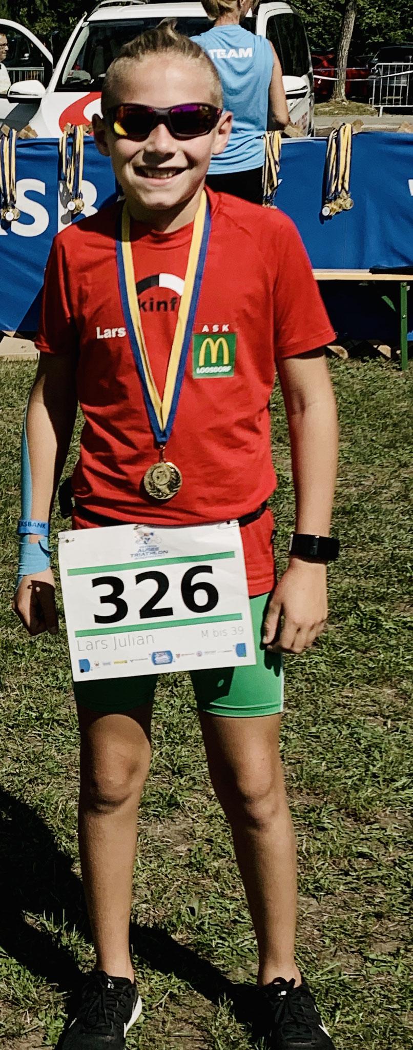 Lars war der jüngste Teilnehmer beim Fun-Triathlon. Sein erster Tri überhaupt super!!