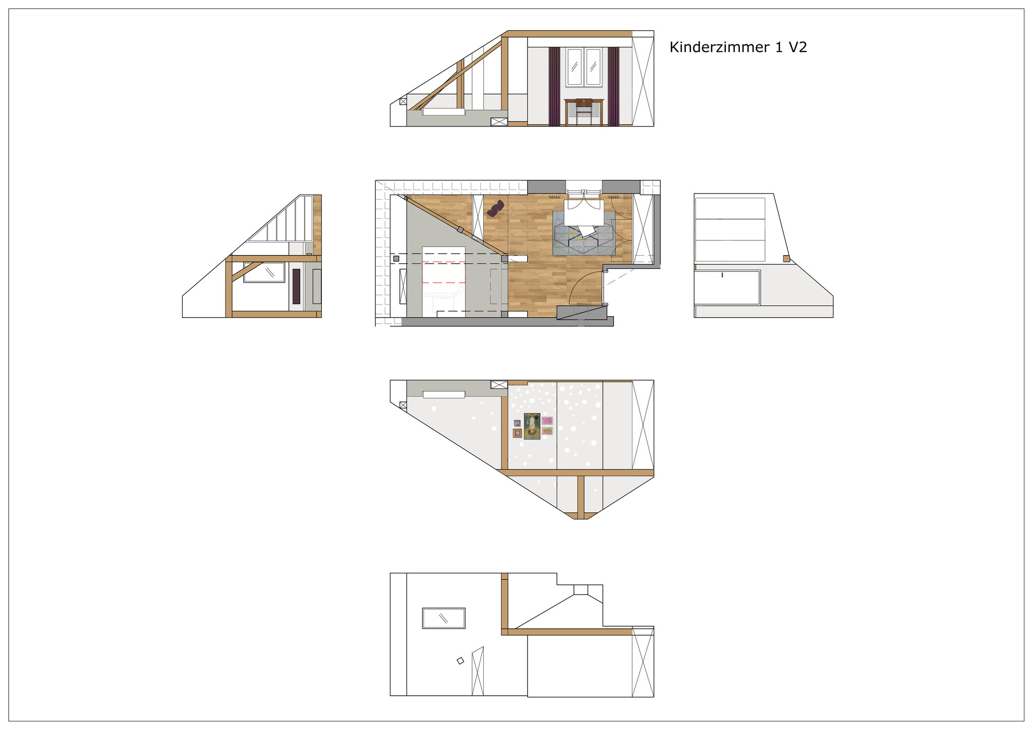 Konzept Kinderzimmer Dachgeschoss