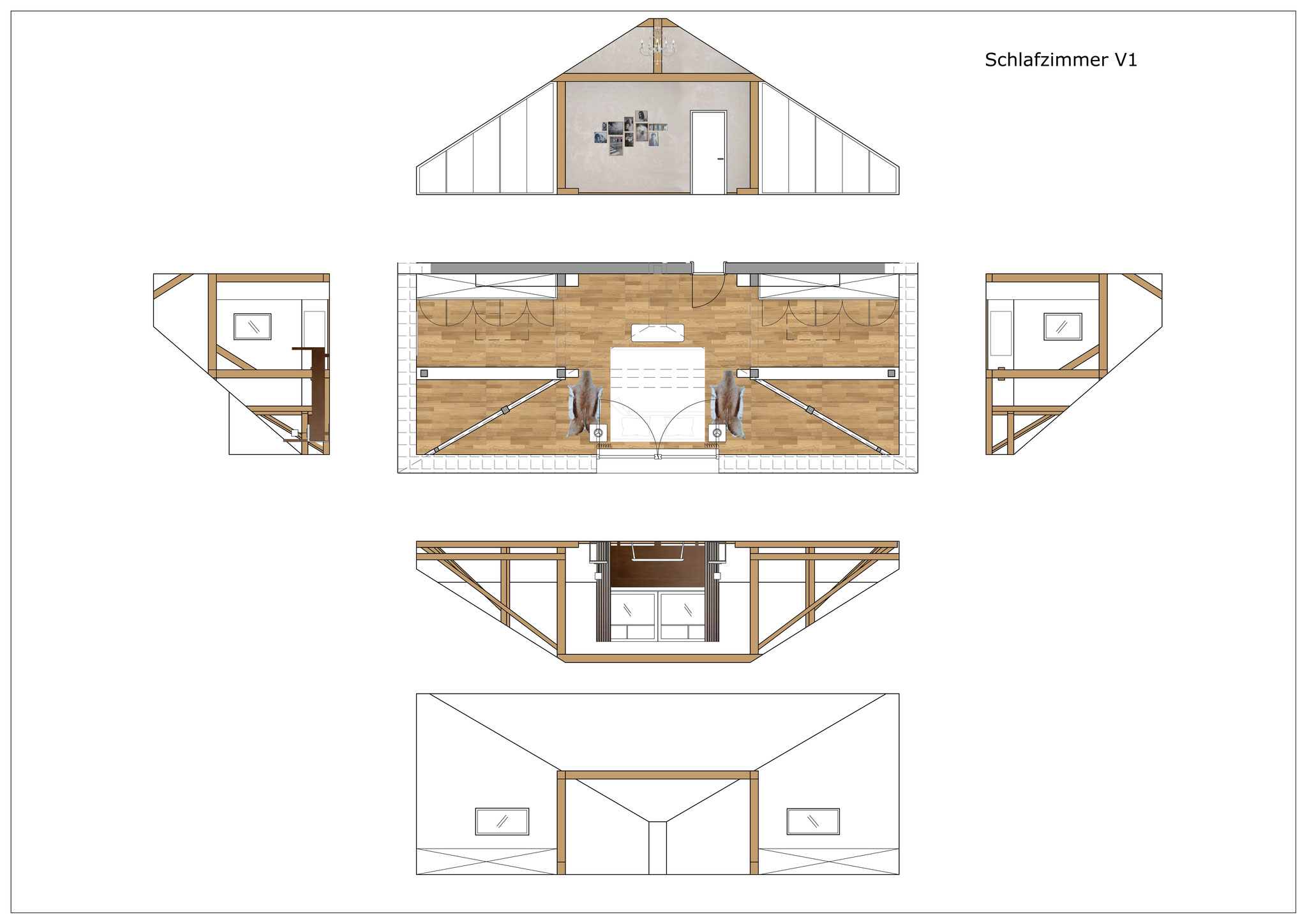 Konzept Schlafzimmer Dachgeschoss V1