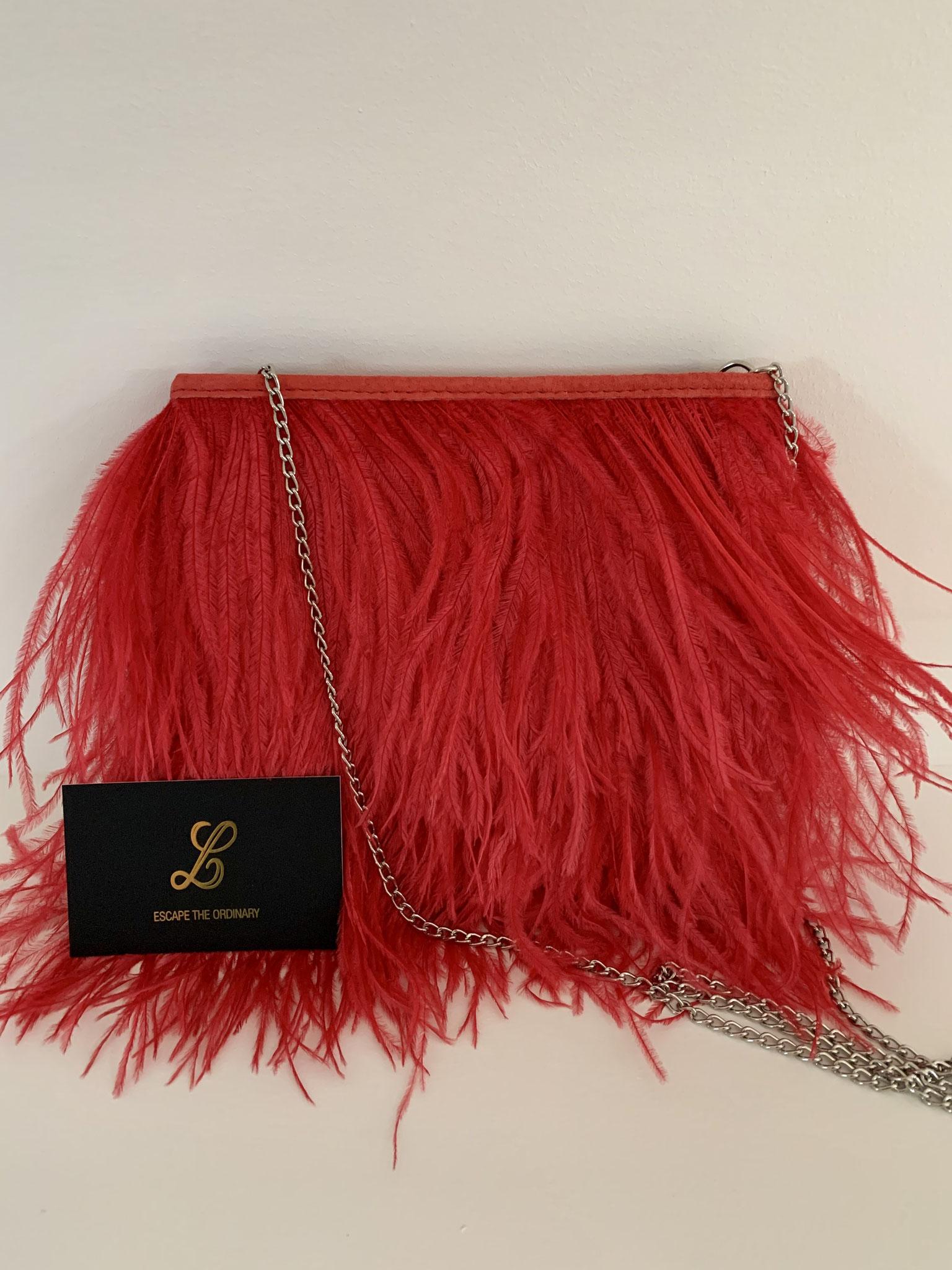 Ostrich feather bag met daim - 125€