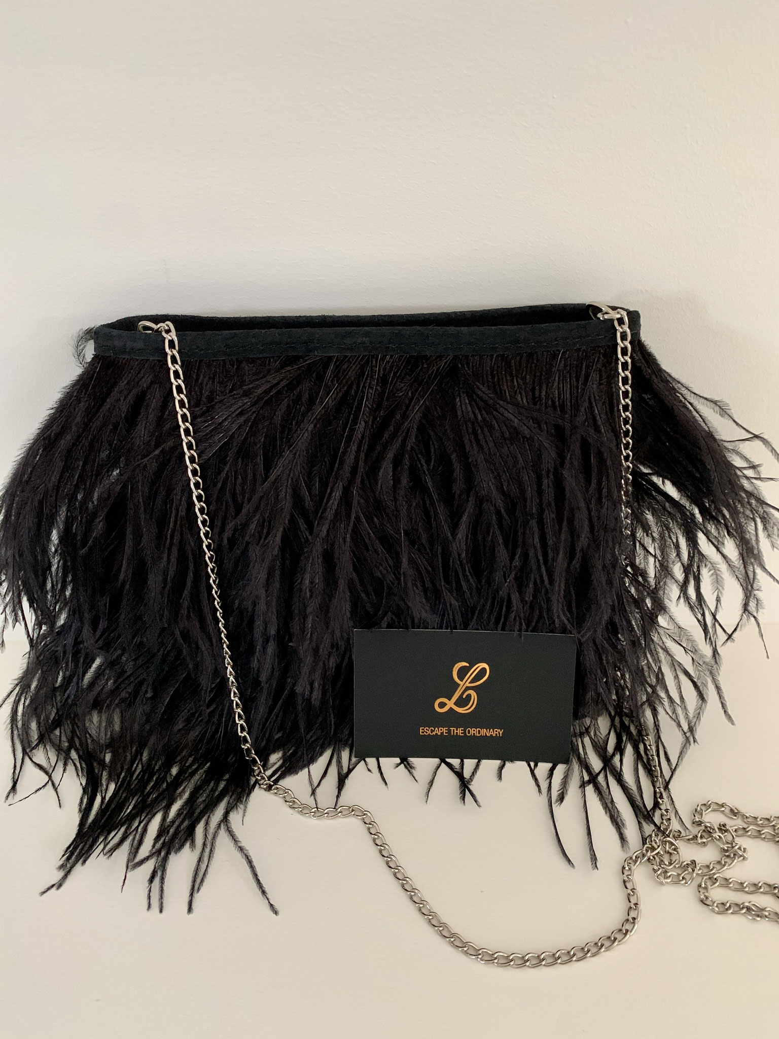 Ostrich feather bag met daim - 125€