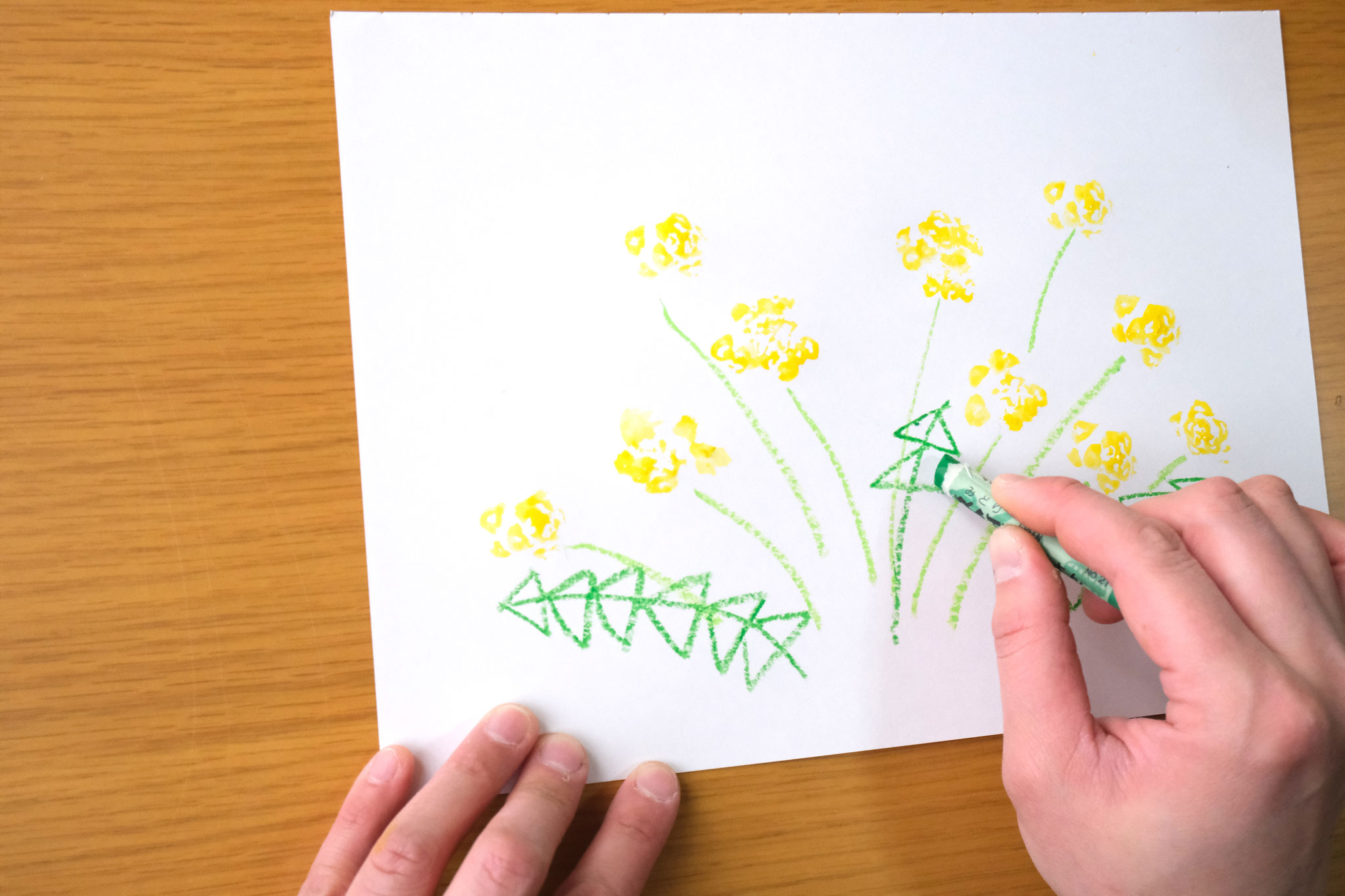 (12)葉っぱを描くとタンポポらしくなります