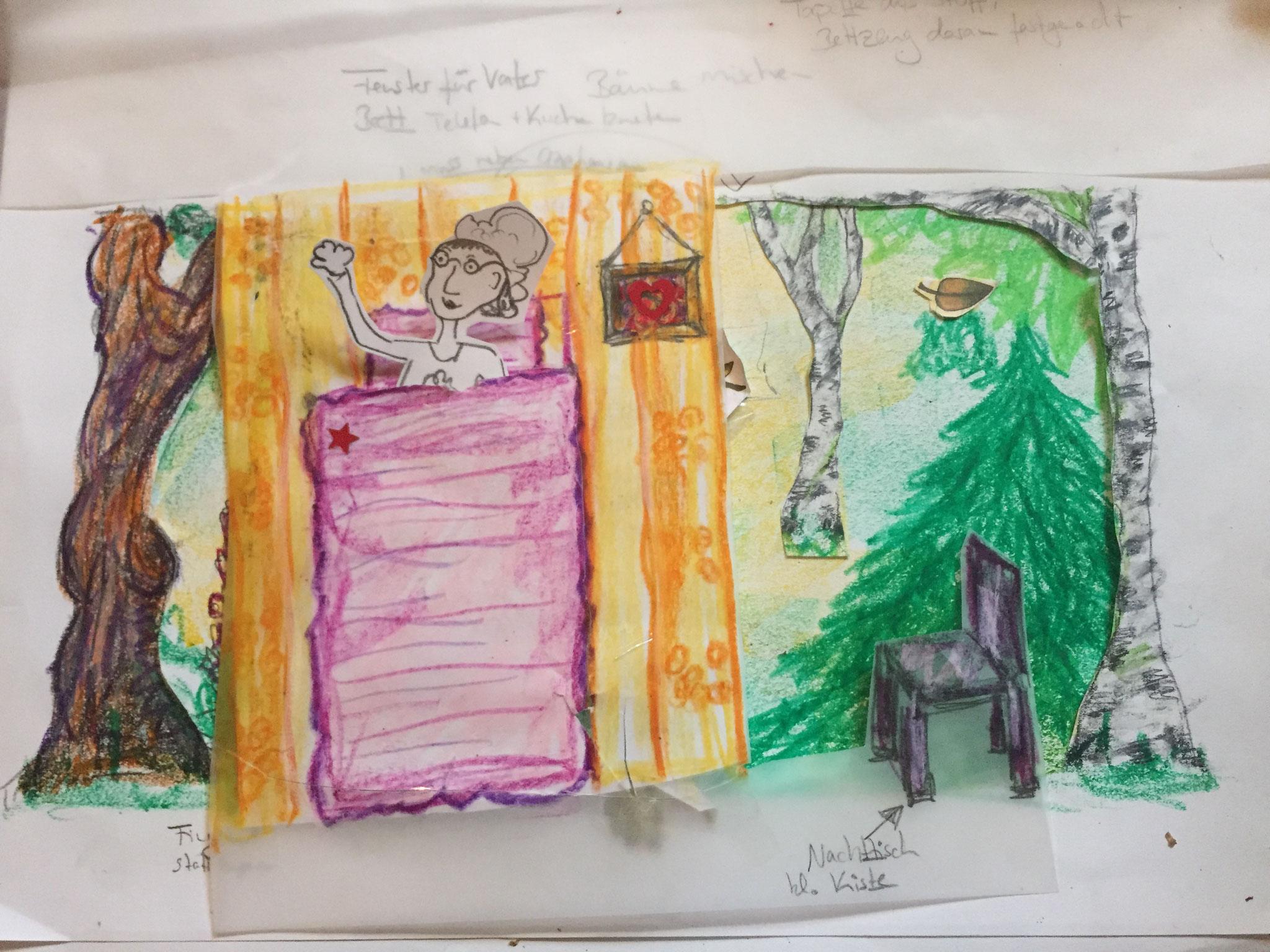 Bühnenbildentwurf Rotkäppchen und der Wolf