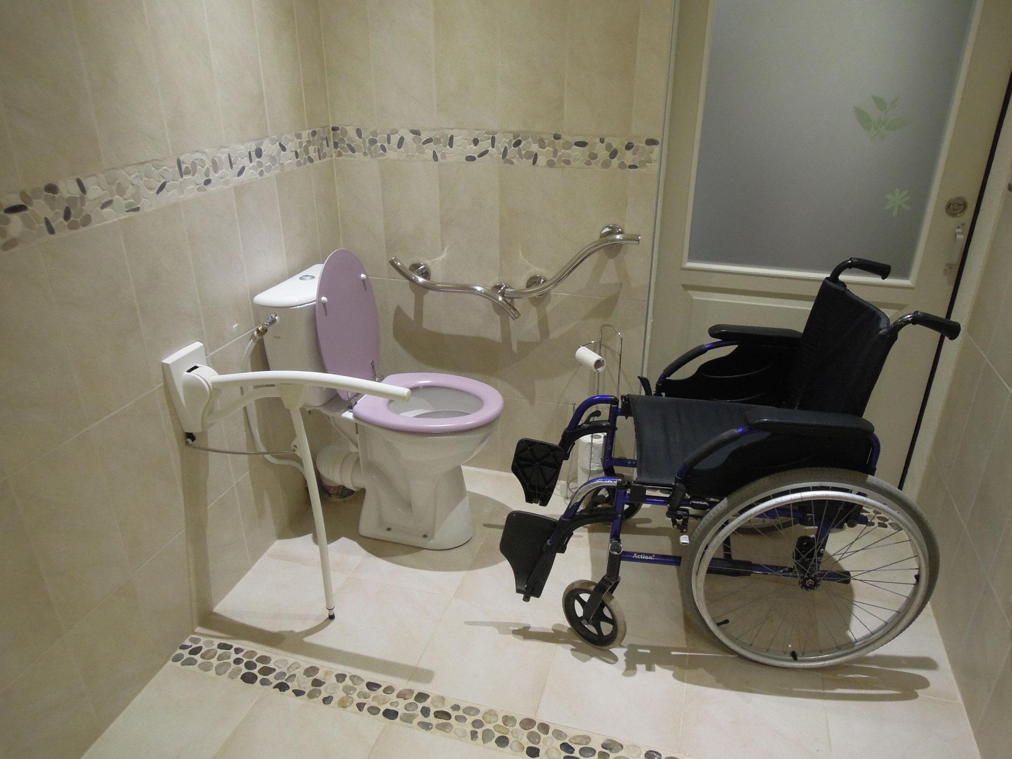 Toilettes surélevées, barre d'appuis, main-courante