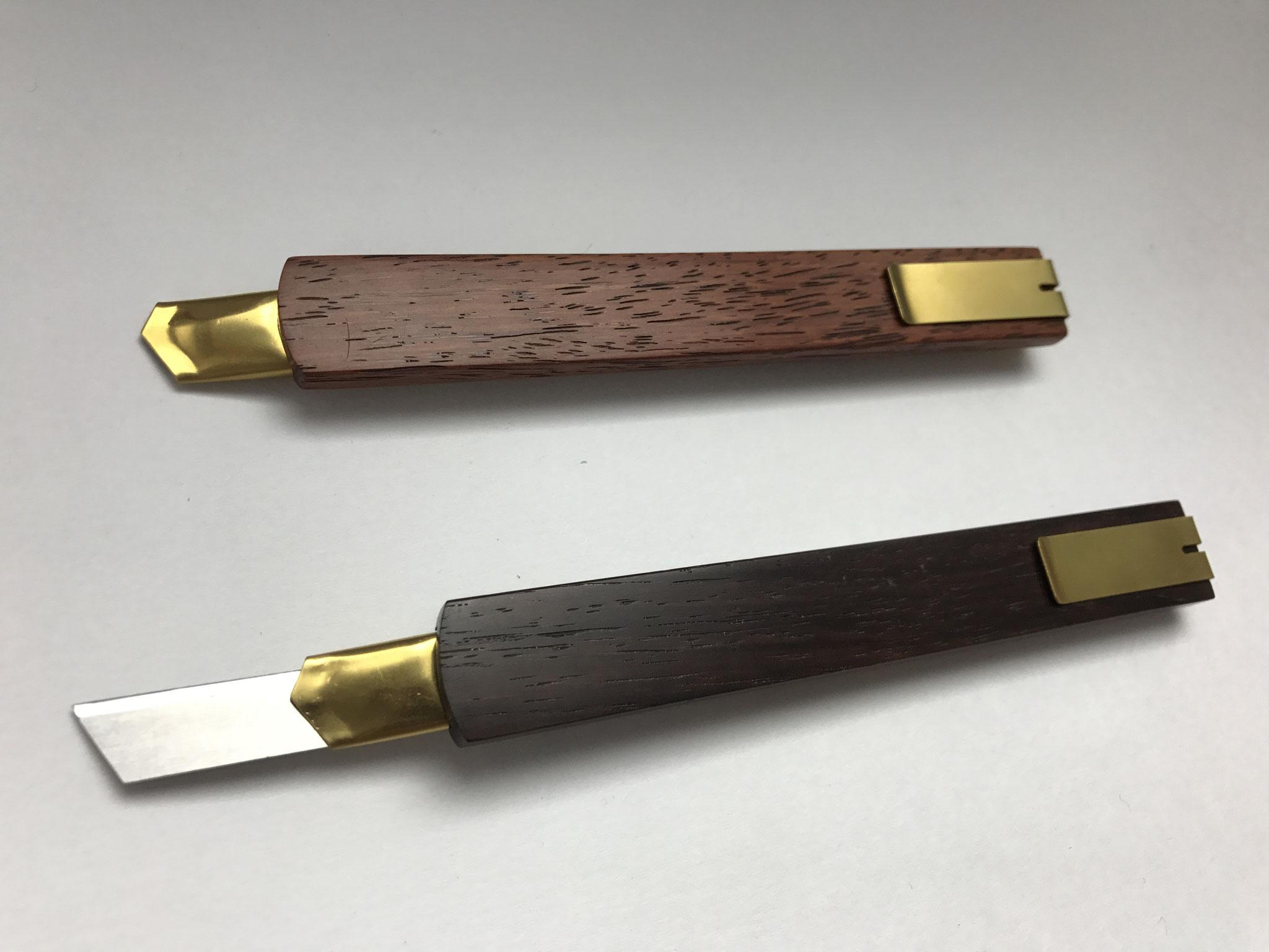 カッターナイフ「采・匠(あや・たくみ)」(黒檀+漆)