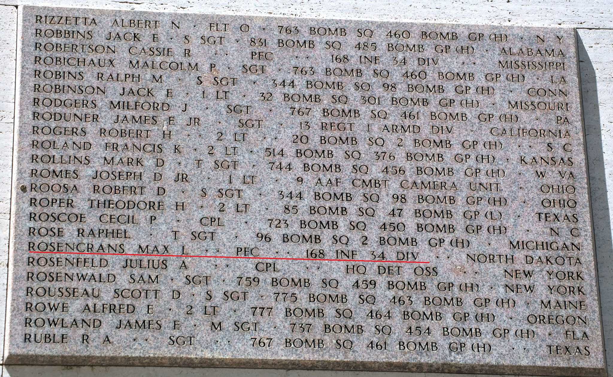 SGT Rosencrans Max L.  (Wall Of Missing cimitero americano di Firenze)