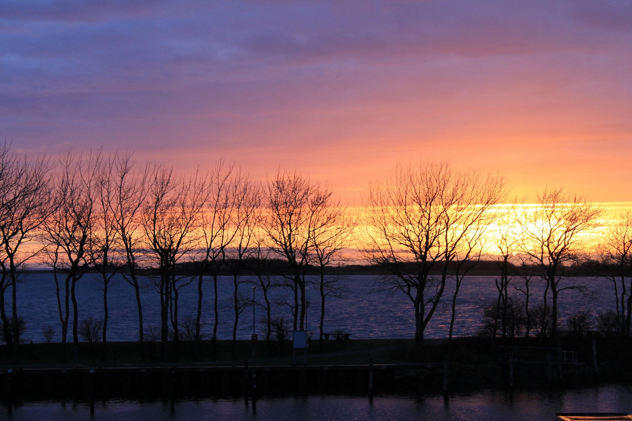 Sonnenuntergang im Hafen Orth auf Fehmarn