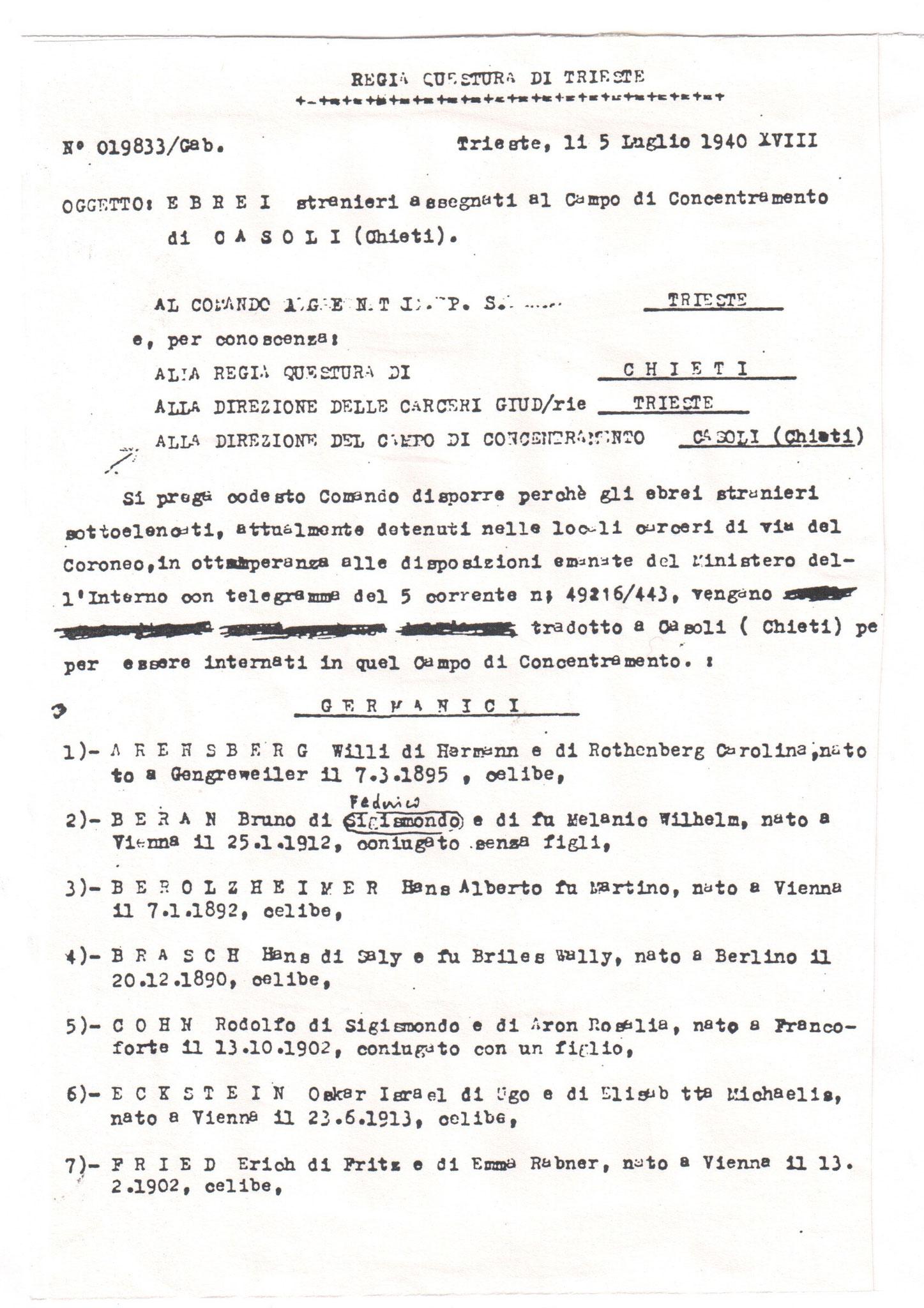 Ebrei stranieri assegnati al Campo di Concentramento di Casoli (Chieti). Elenco inviato dalla Regia Questura di Trieste.