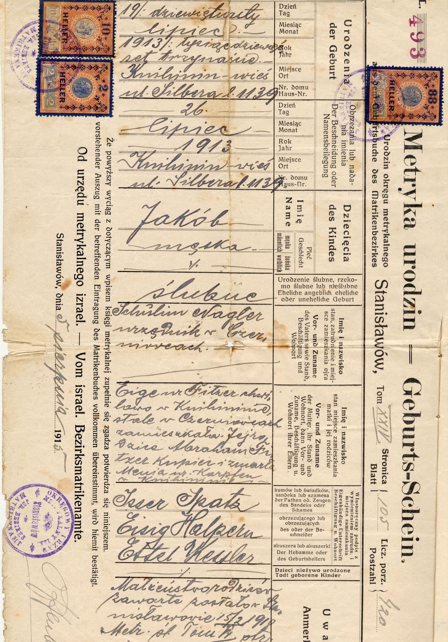 Certificato di nascita Giacomo Nagler (Kubi)