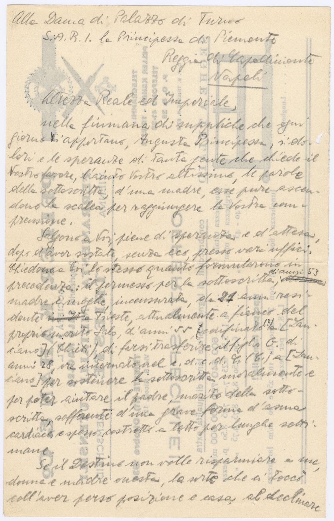 Bozza lettera alla principessa del Piemonte