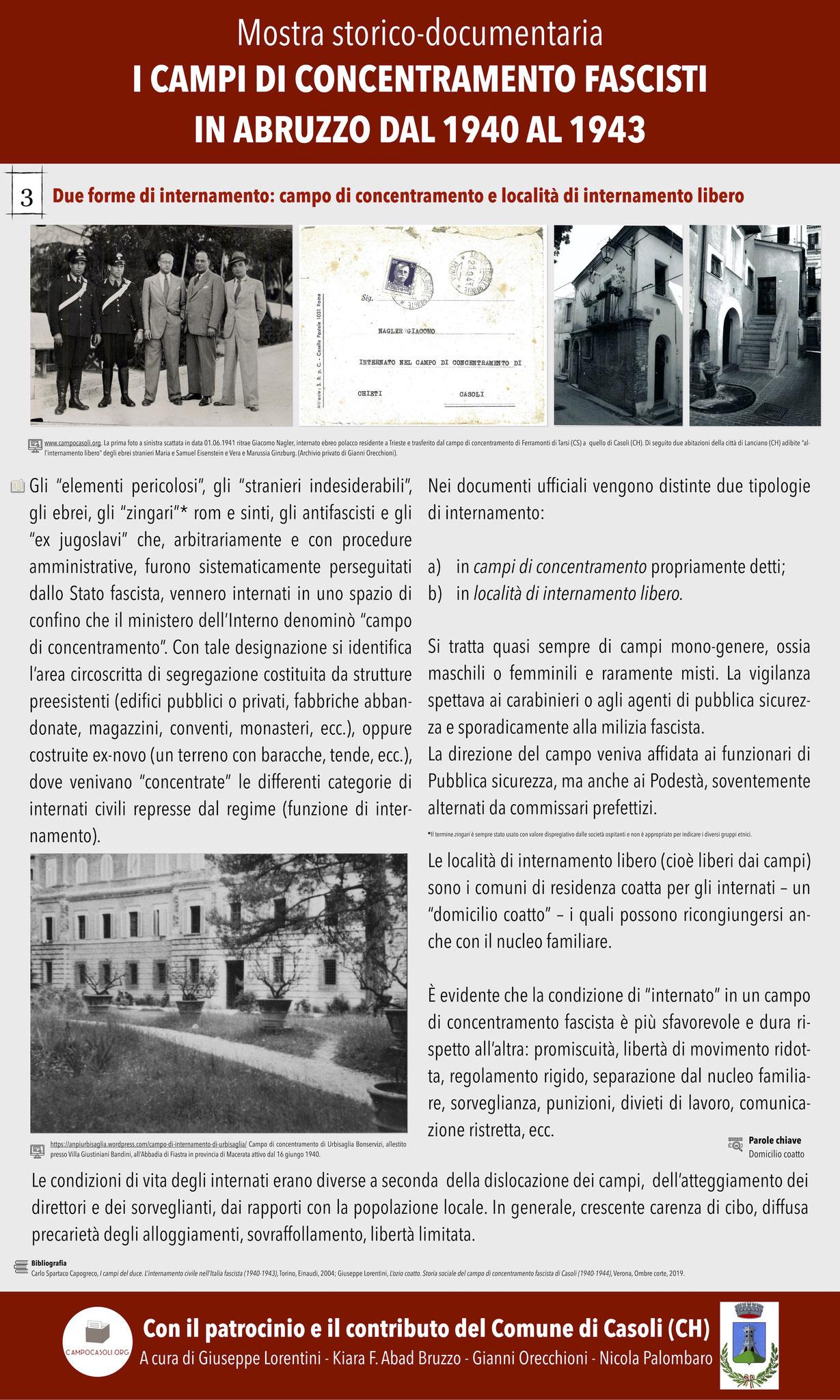 3. Due forme di internamento: campo di concentramento e località di internamento libero