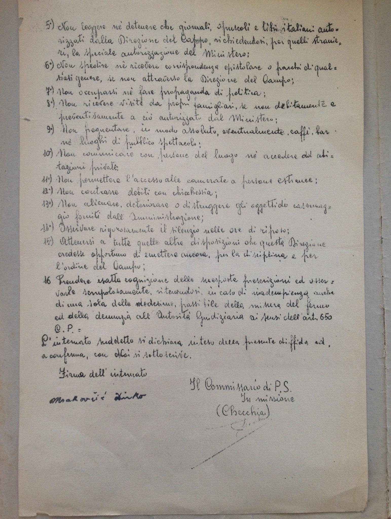 Prescrizione delle regole del Campo di Concentramento di Casoli, foglio 2