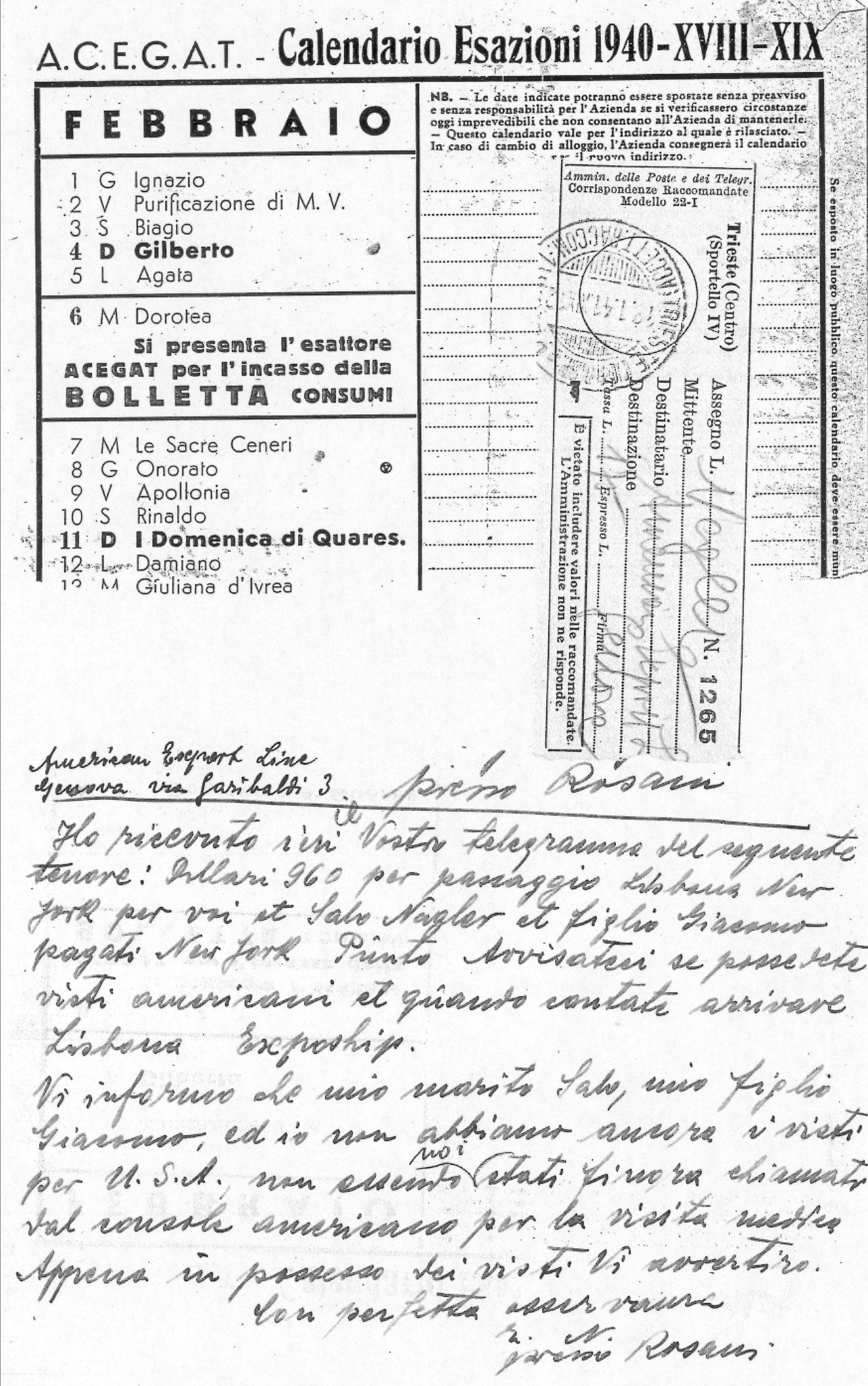 Lettera per i biglietti della nave
