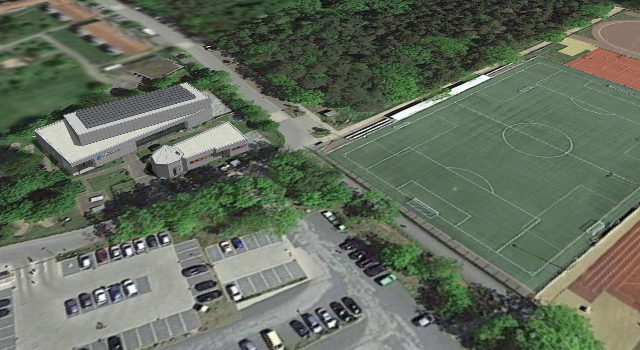 Luftbild der Umgebung - Gesamtbild. Neben dem Vereinsheim entsteht noch eine große Eis- und Indoorspielhalle