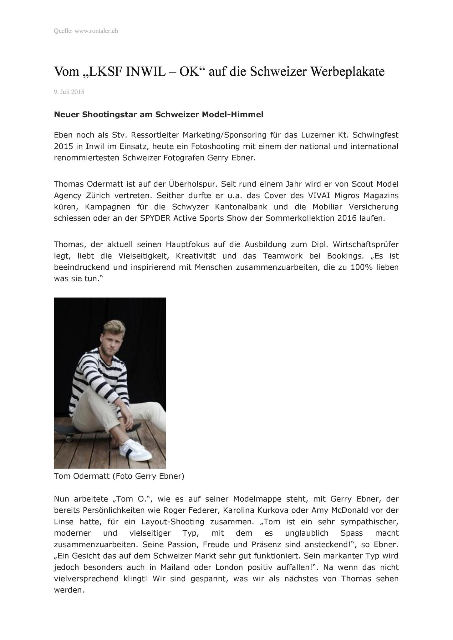 Rontaler Gerry Ebner Model Thomas Odermatt