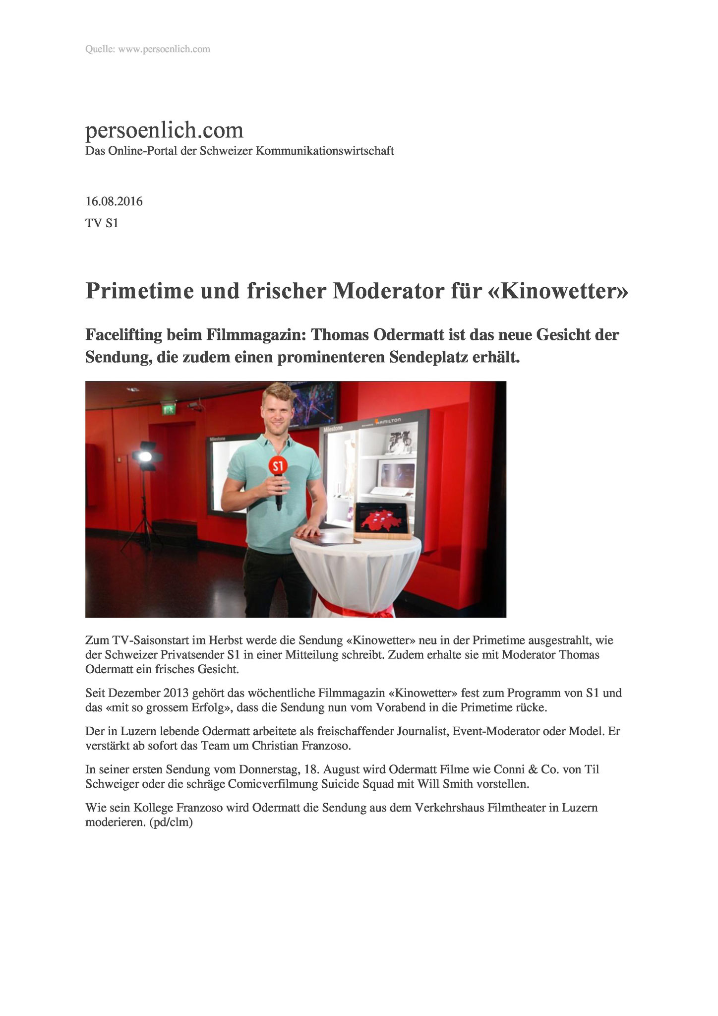 Persönlich Kinowetter Moderator Thomas Odermatt