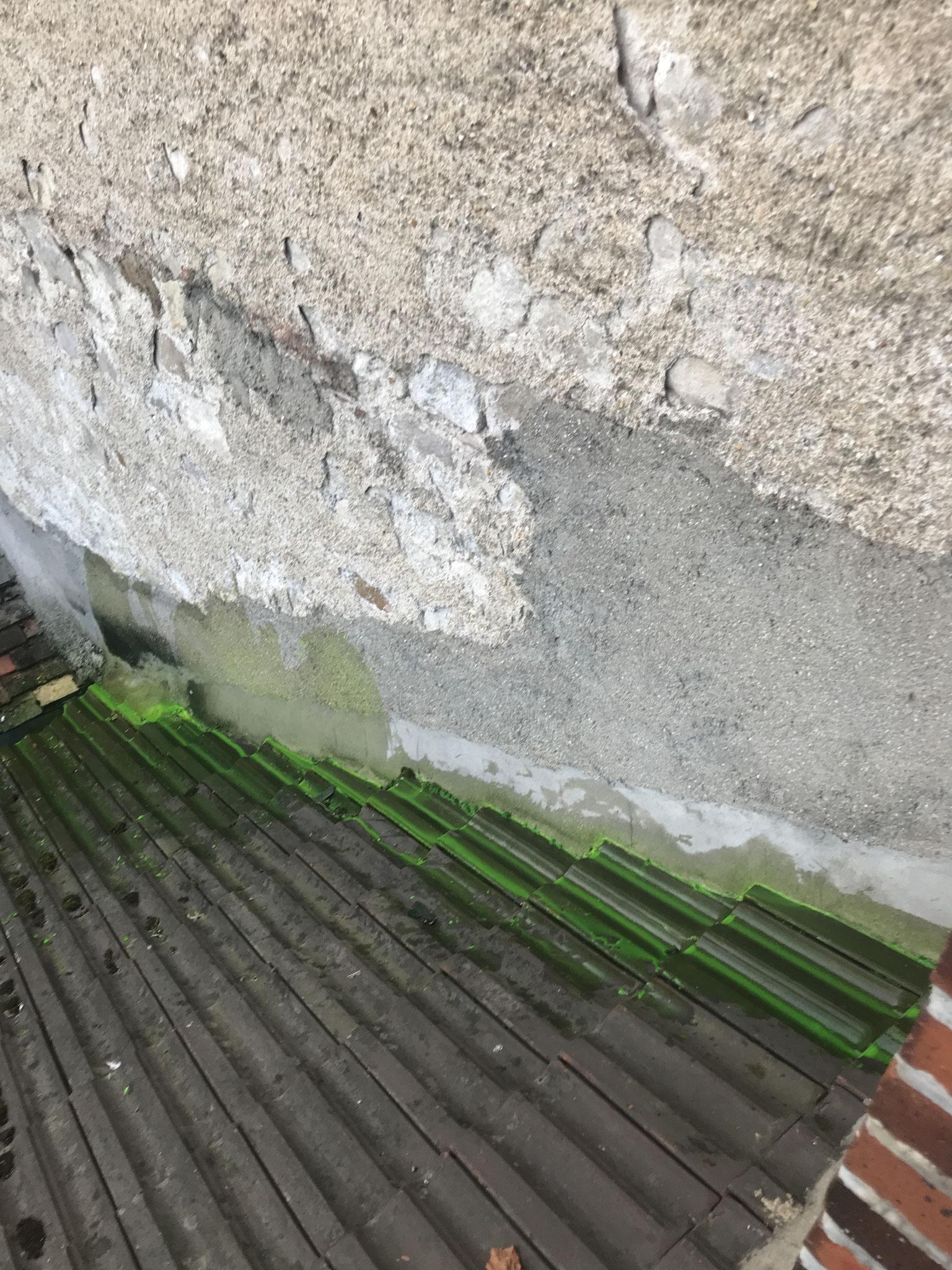 Mise en évidence d'une fuite avec fluorescéine