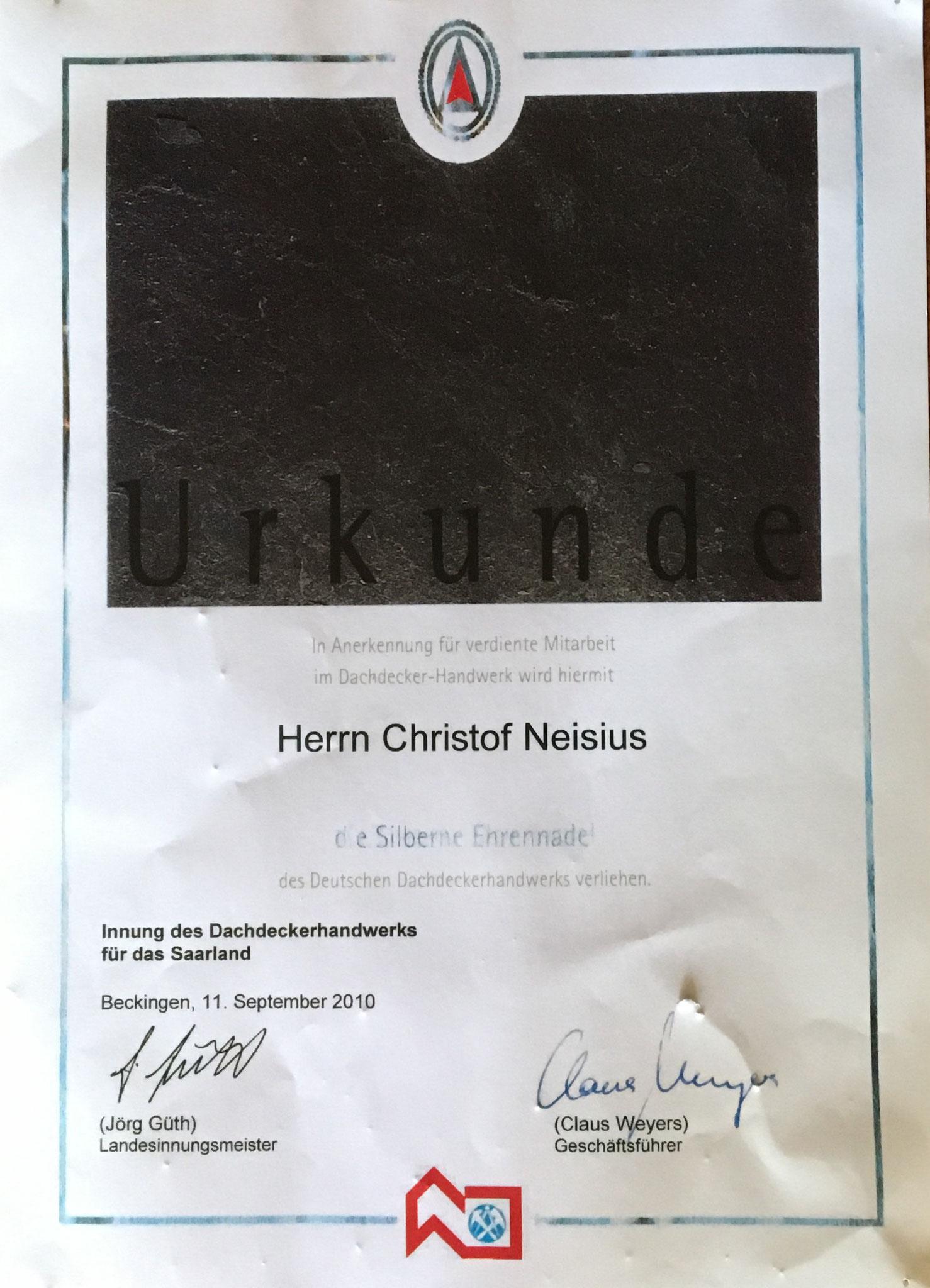 Urkunde unseres langjährigen Mitarbeiters Christof Neisius, seit 37Jahren für uns tätig