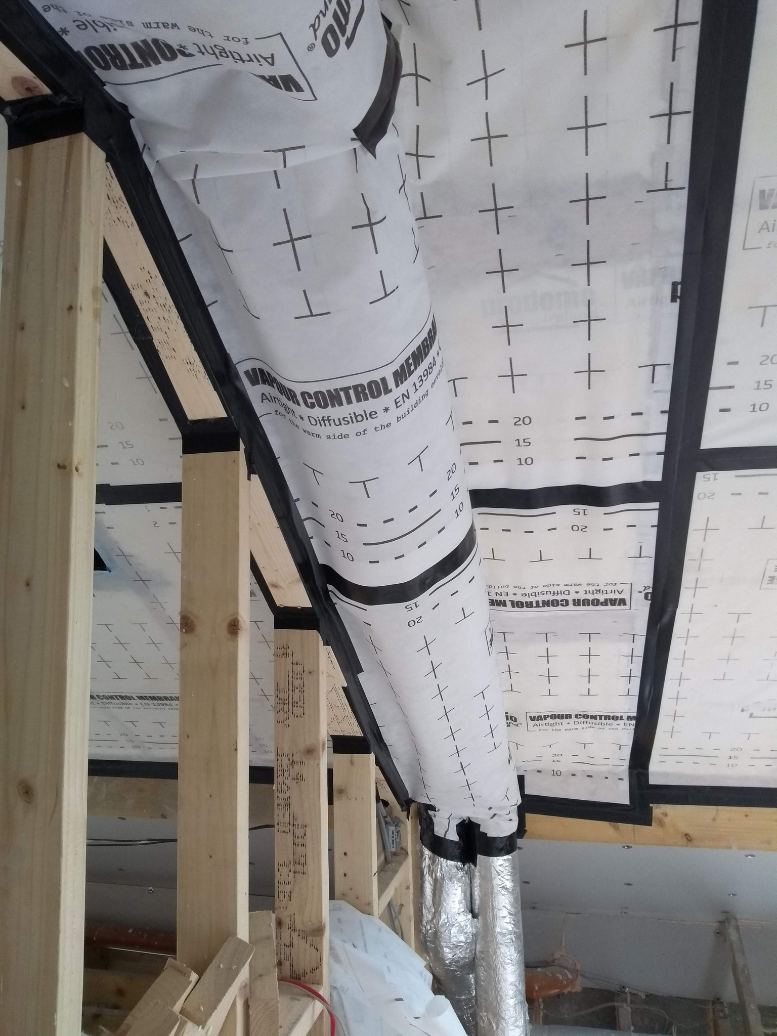Air Tightness Membrane, wrapped around hrv ducts
