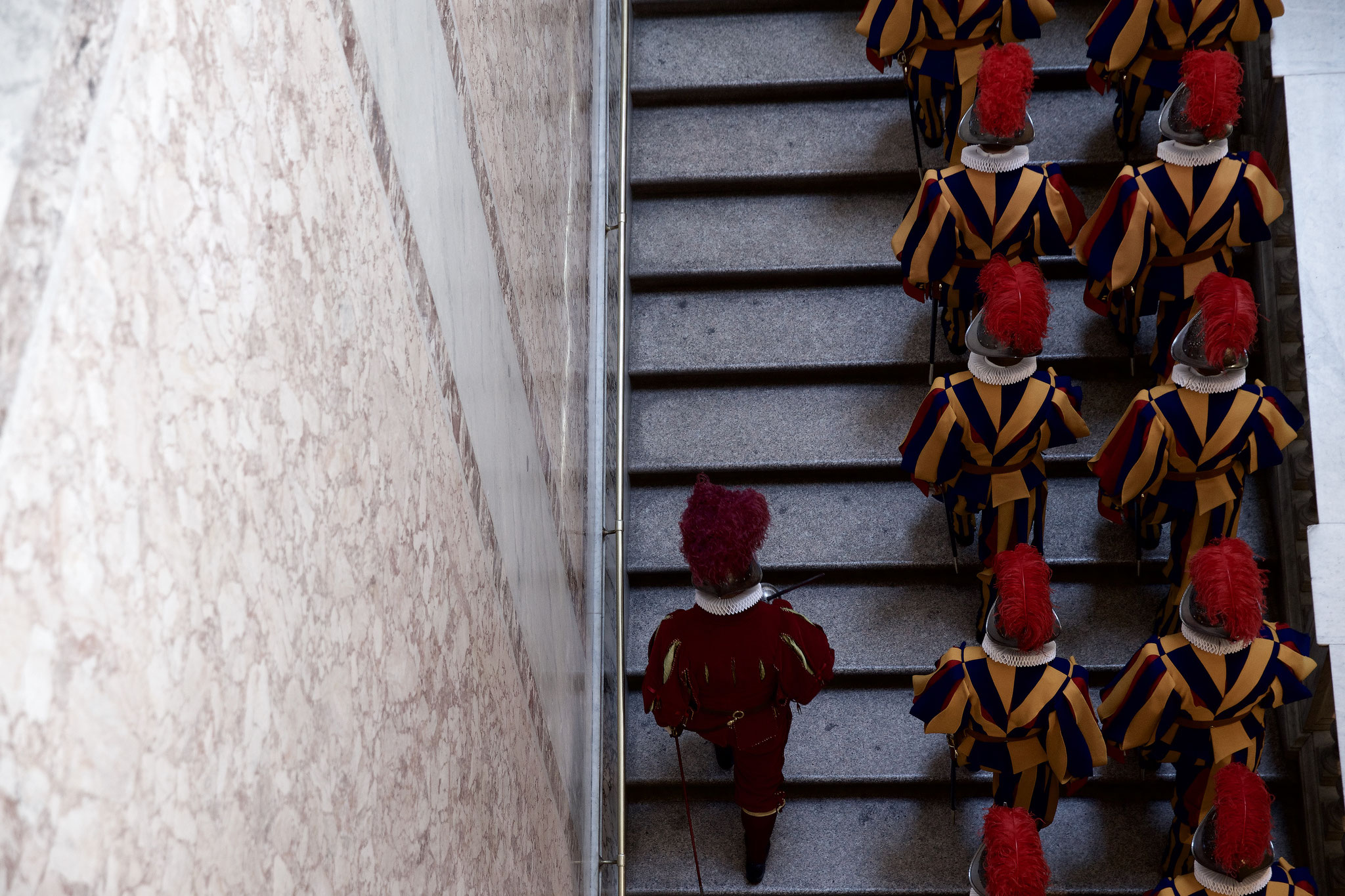 Marching stairs inside the Papal Palace.