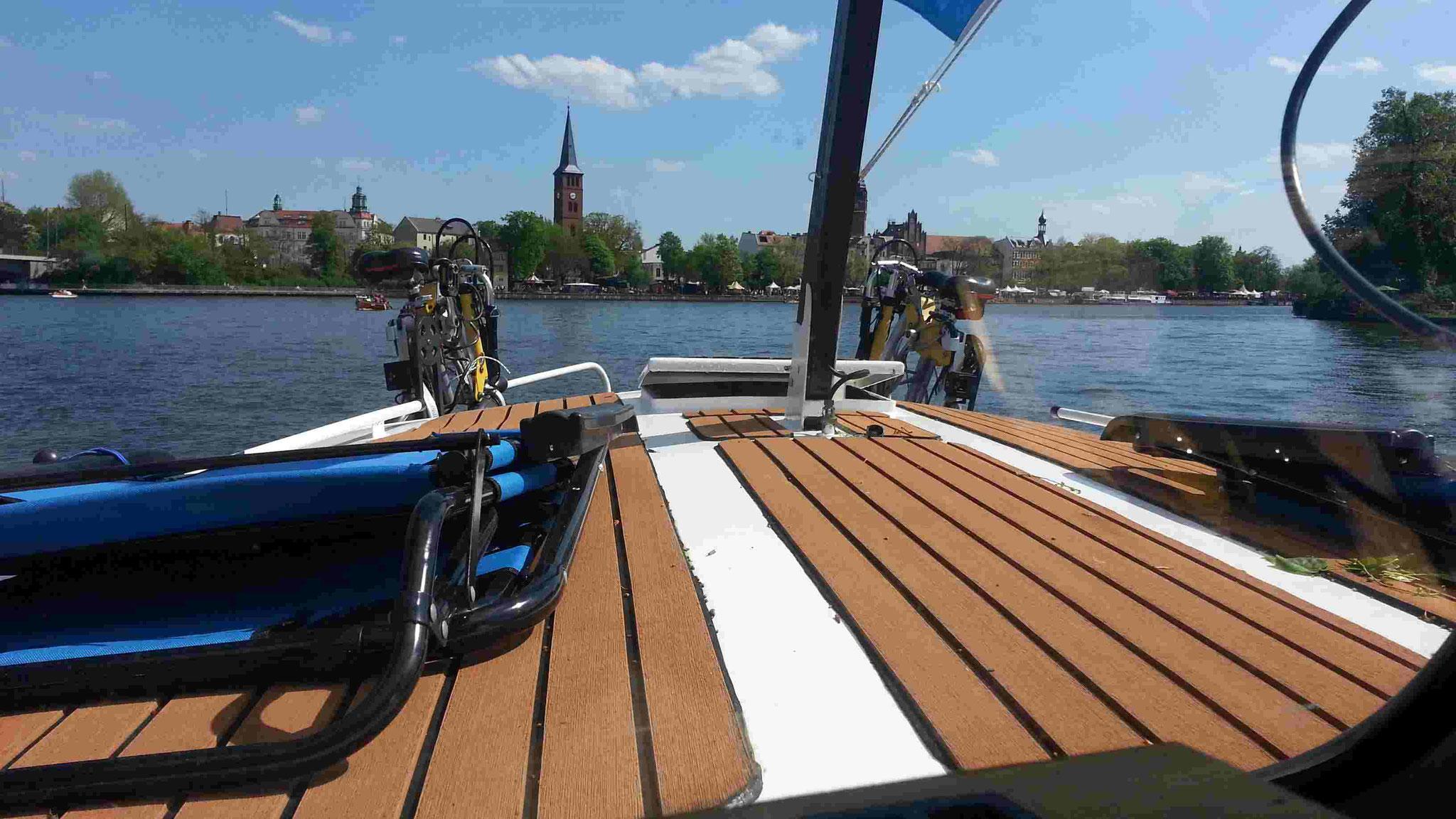 Blick auf die Stadt Köpenick und unseren neuen Decksbelag