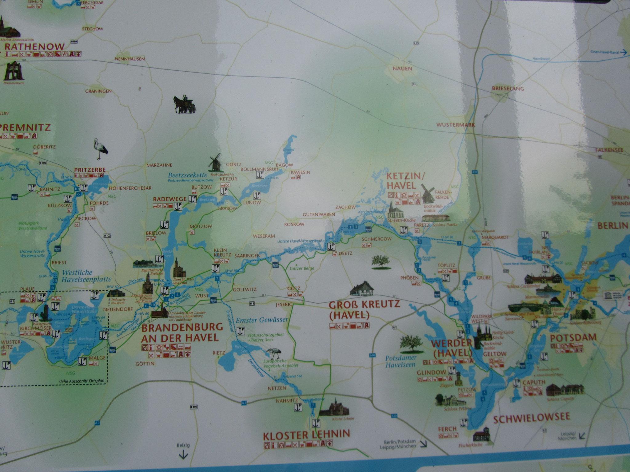 Übersichtskarte Gewässer Brandenburg Havel