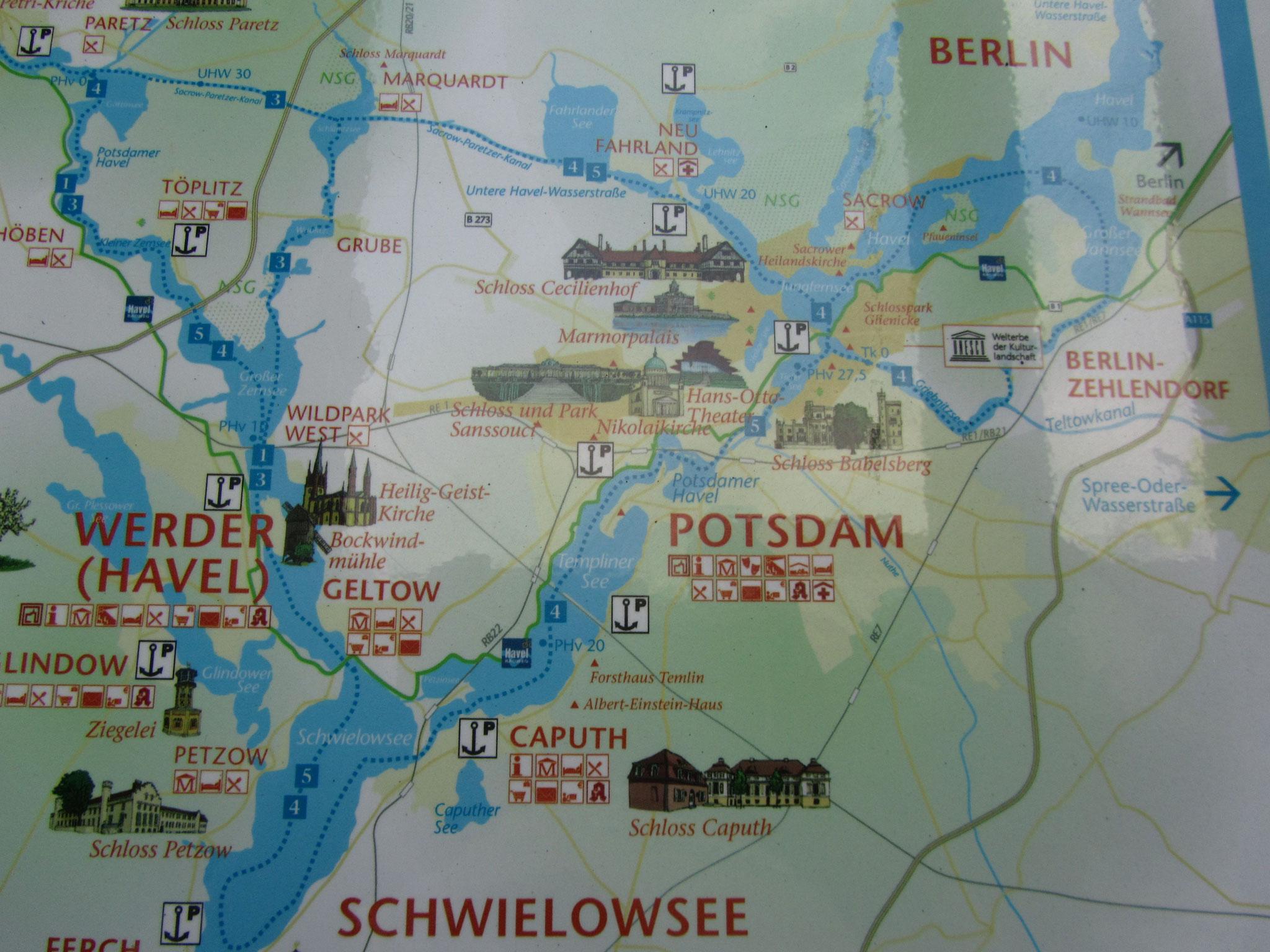 Übersichtskarte Brandenburger Gewässer / Havel