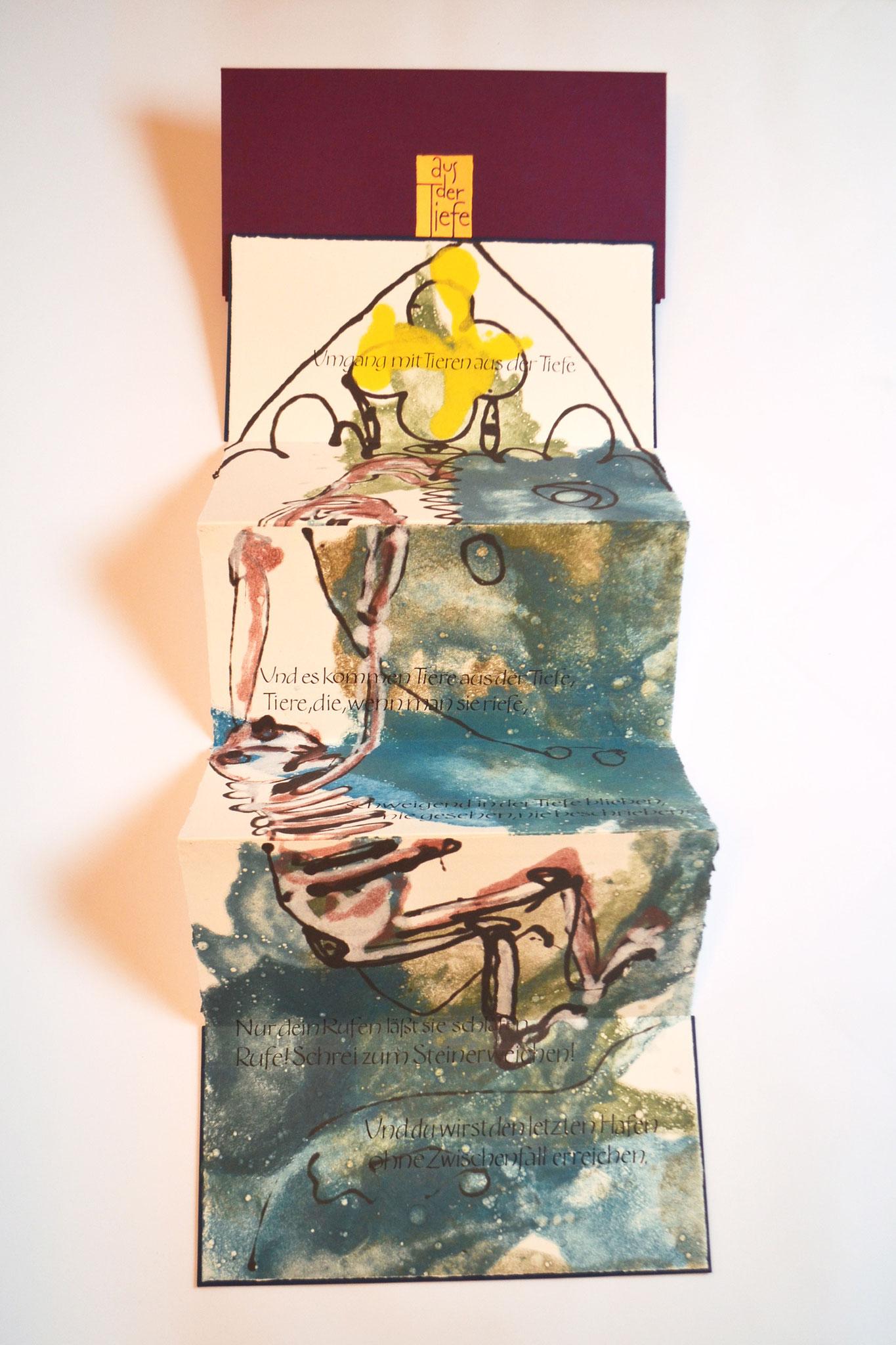 """""""Aus der Tiefe"""" (2018) - Ein Künstlerbuch (blaue Version) von John Gerard mit Papiergüssen von Anna Fernengel und einem Gedicht von Robert Gernhardt"""