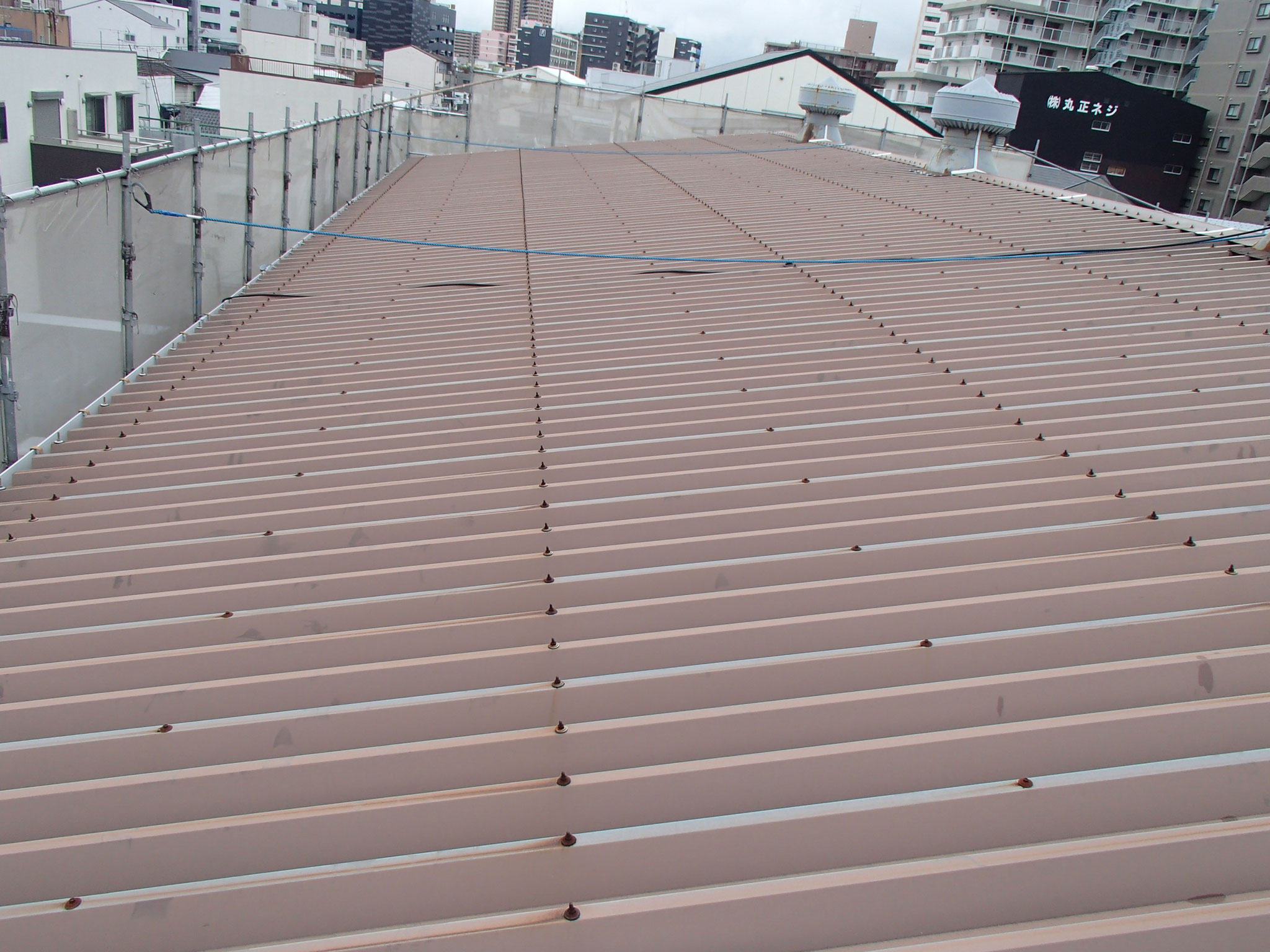 折半で勾配を取った屋根部分 東側