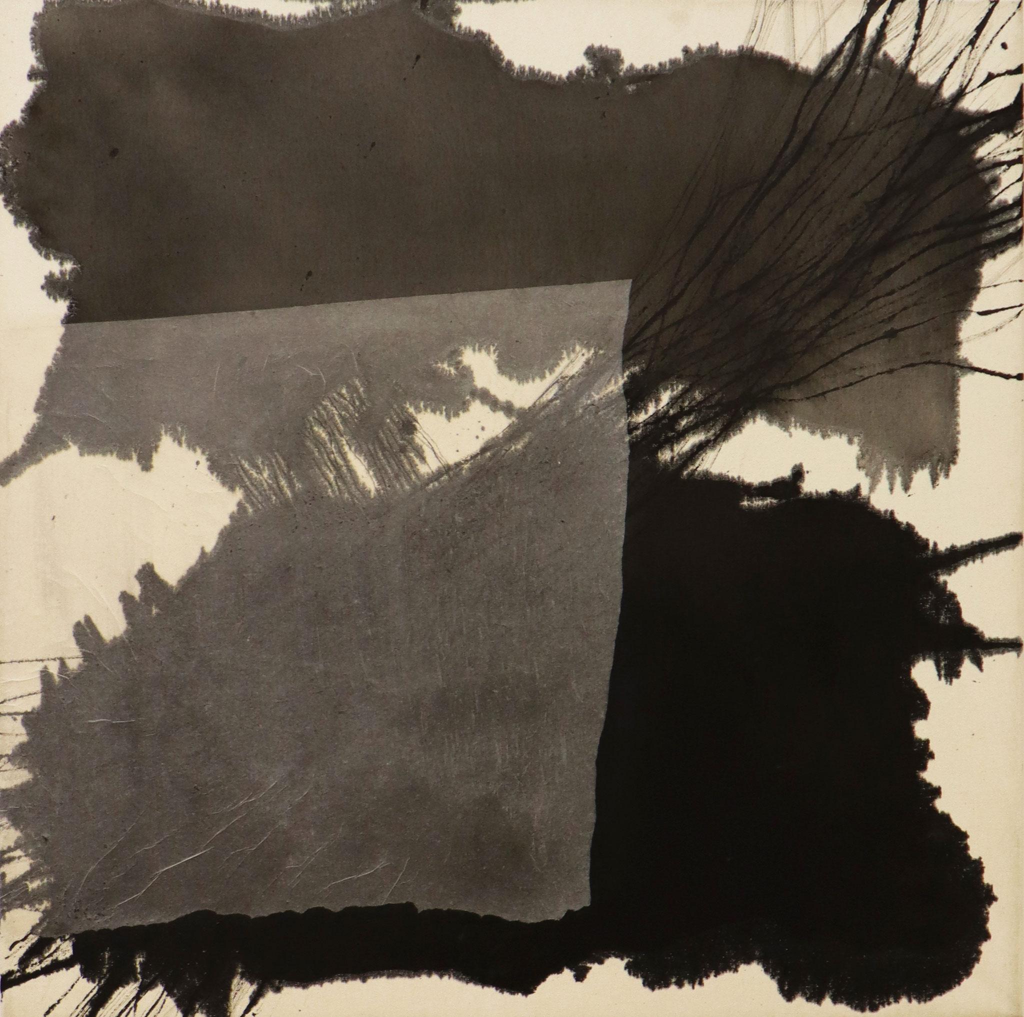 Series 'Traces' 2020 - Tusche & Seidenpapier auf Leinwand / ink & silk paper on canvas - 80 x 80 x 3.6 cm