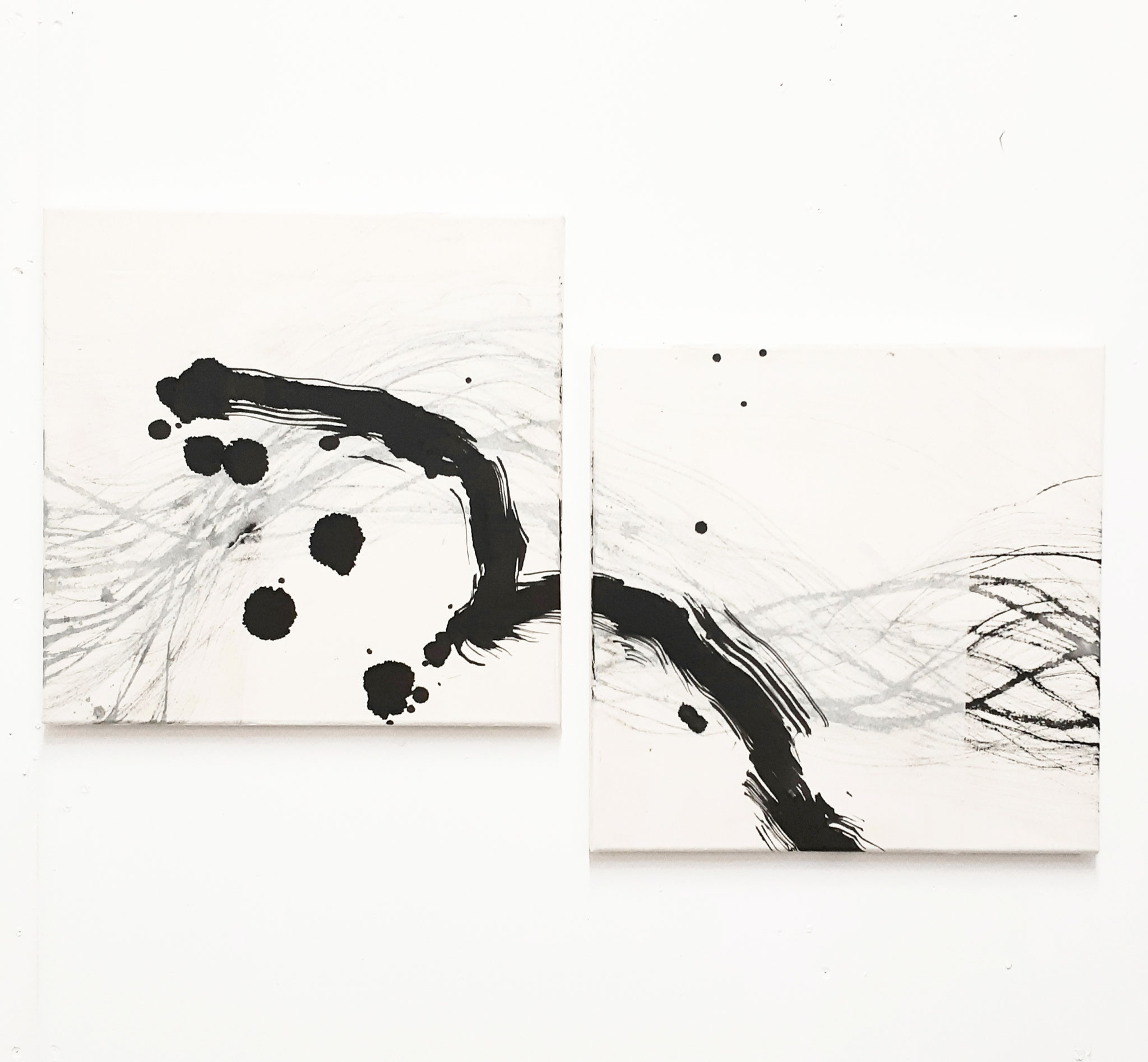 'flying bird' - Tusche auf Leinwand / ink on canvas - 2x  40 x 40 cm
