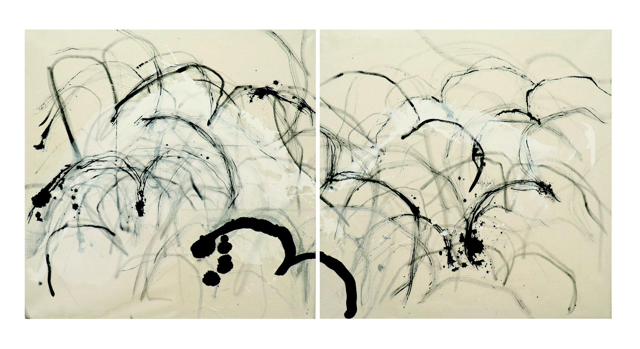 'fly bird fly' - Tusche auf Leinwand / ink on canvas - 180 x 90 cm