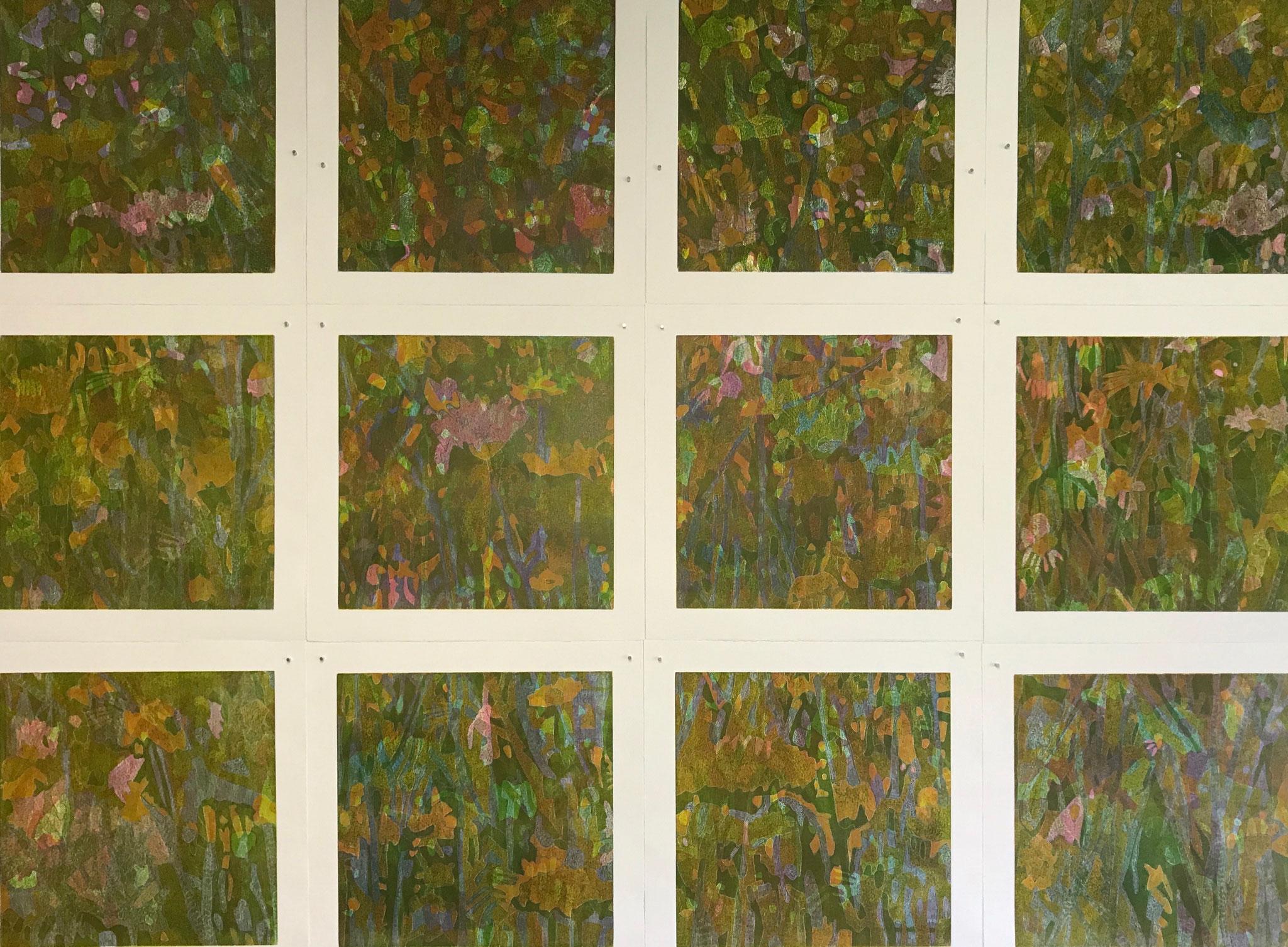 Regentag (Blumenwiese II) Holzschnitt 160 x 120 cm