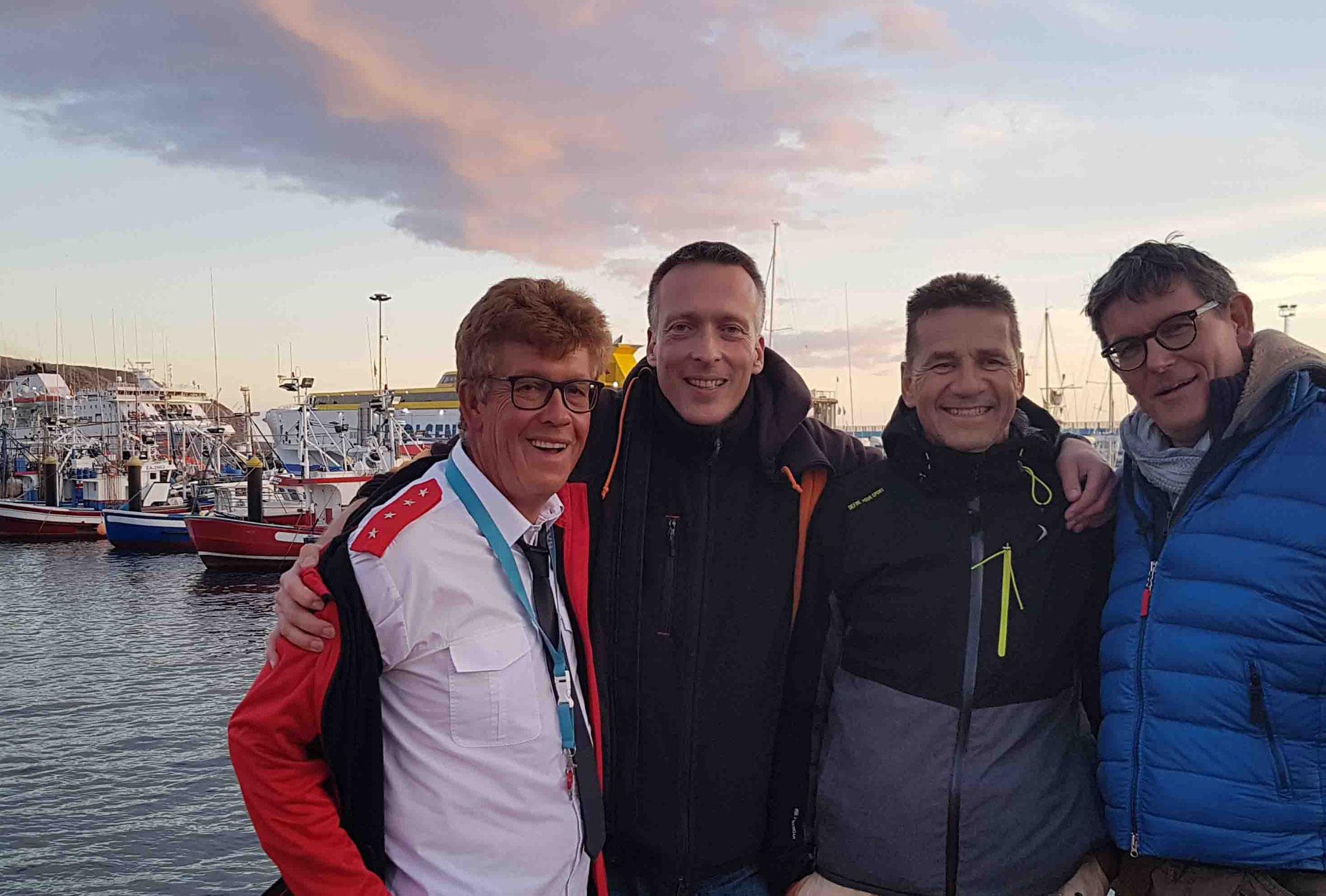 Christoph, Charles und Peter auf Teneriffa - Katamarantraining 2019