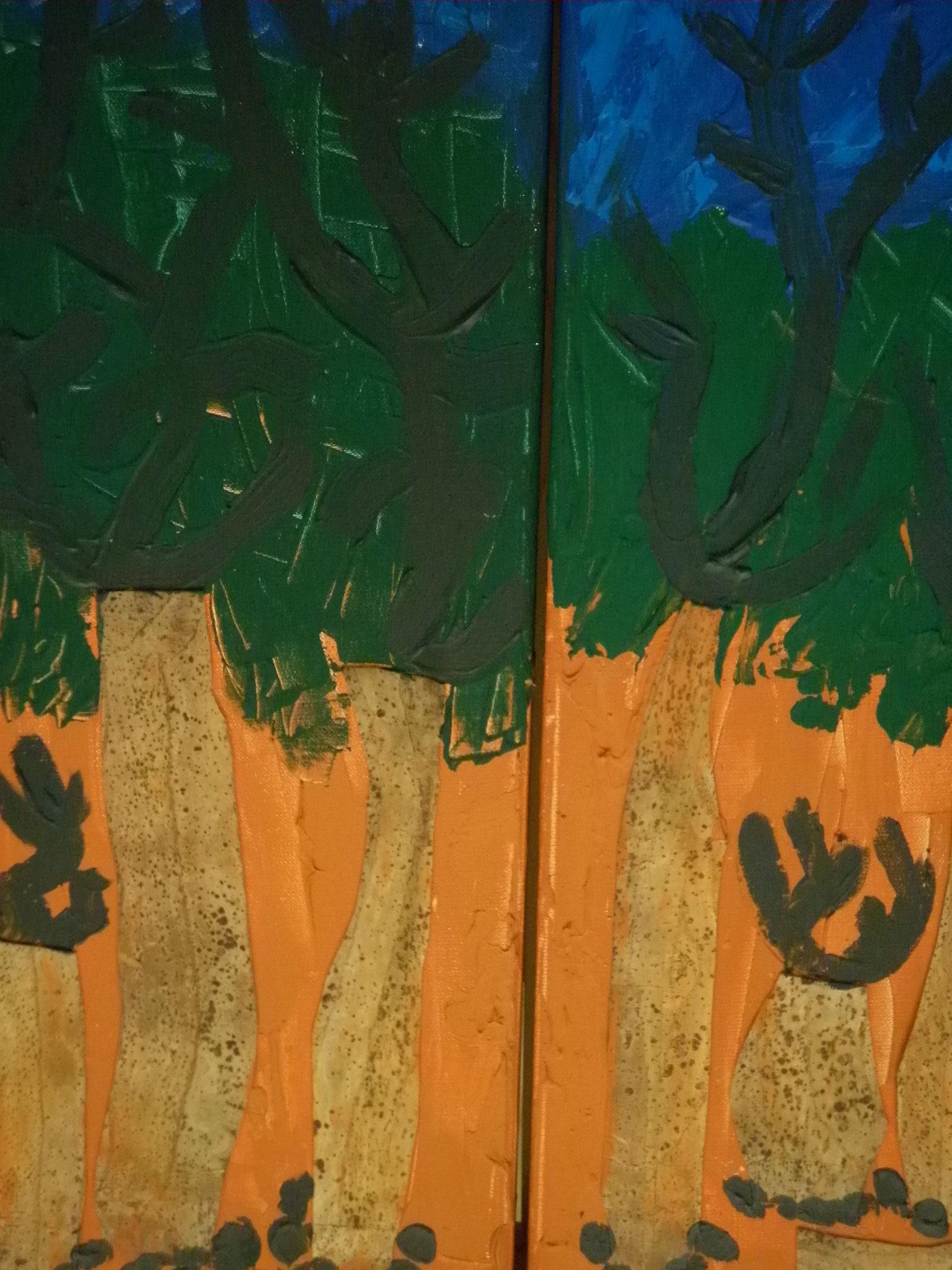 Bild-Nr. 237 u. 238  Kork ©  Maß 30 x 60 (3 Bilder) Acryl/Leinwand auf Keilrahmen