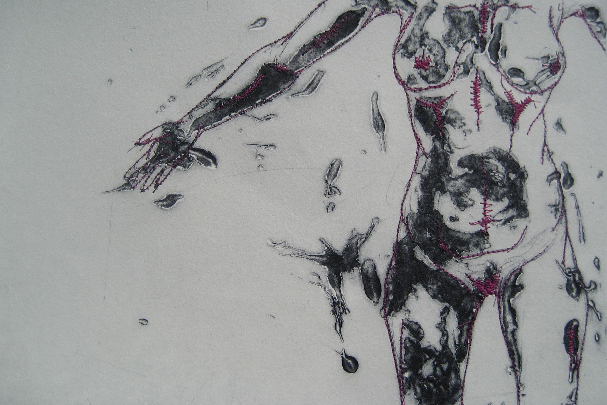 La Poupée encollée - Pointe sèche et carborundum sur zinc, couture  -2012
