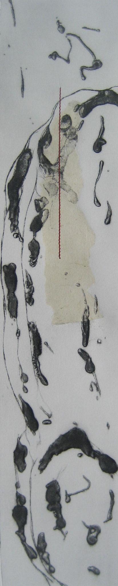 Sans titre - Pointe sèche et carborundum sur zinc, chine appliqué et couture - 2013