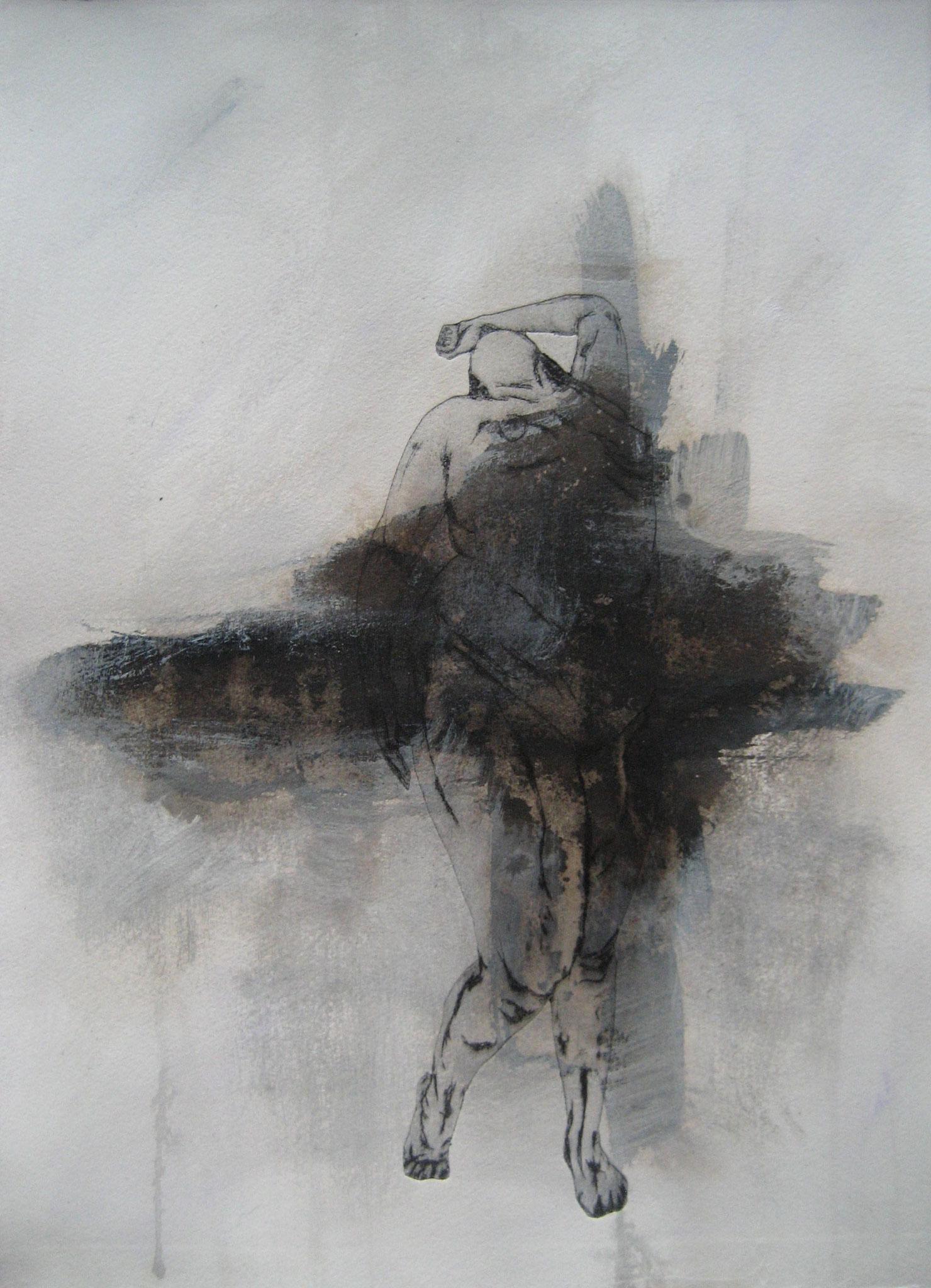 Sans titre - Pointe sèche et carborundum sur rhénalon, peinture acrylique - 2013