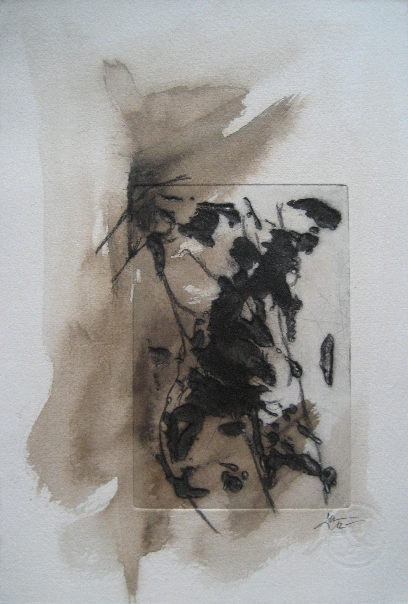 Sans titre - Pointe sèche et carborundum sur zinc, peinture acrylique et fusain - 2012