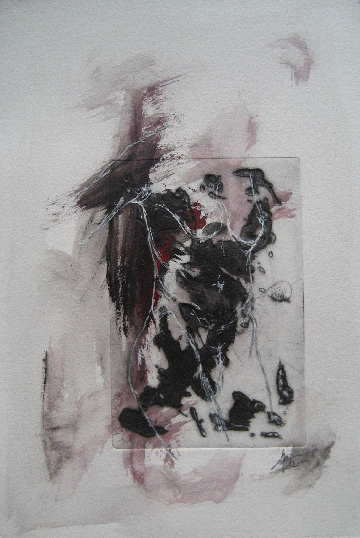 Sans titre - Pointe sèche et carborundum sur zinc, peinture acrylique et stylo - 2012