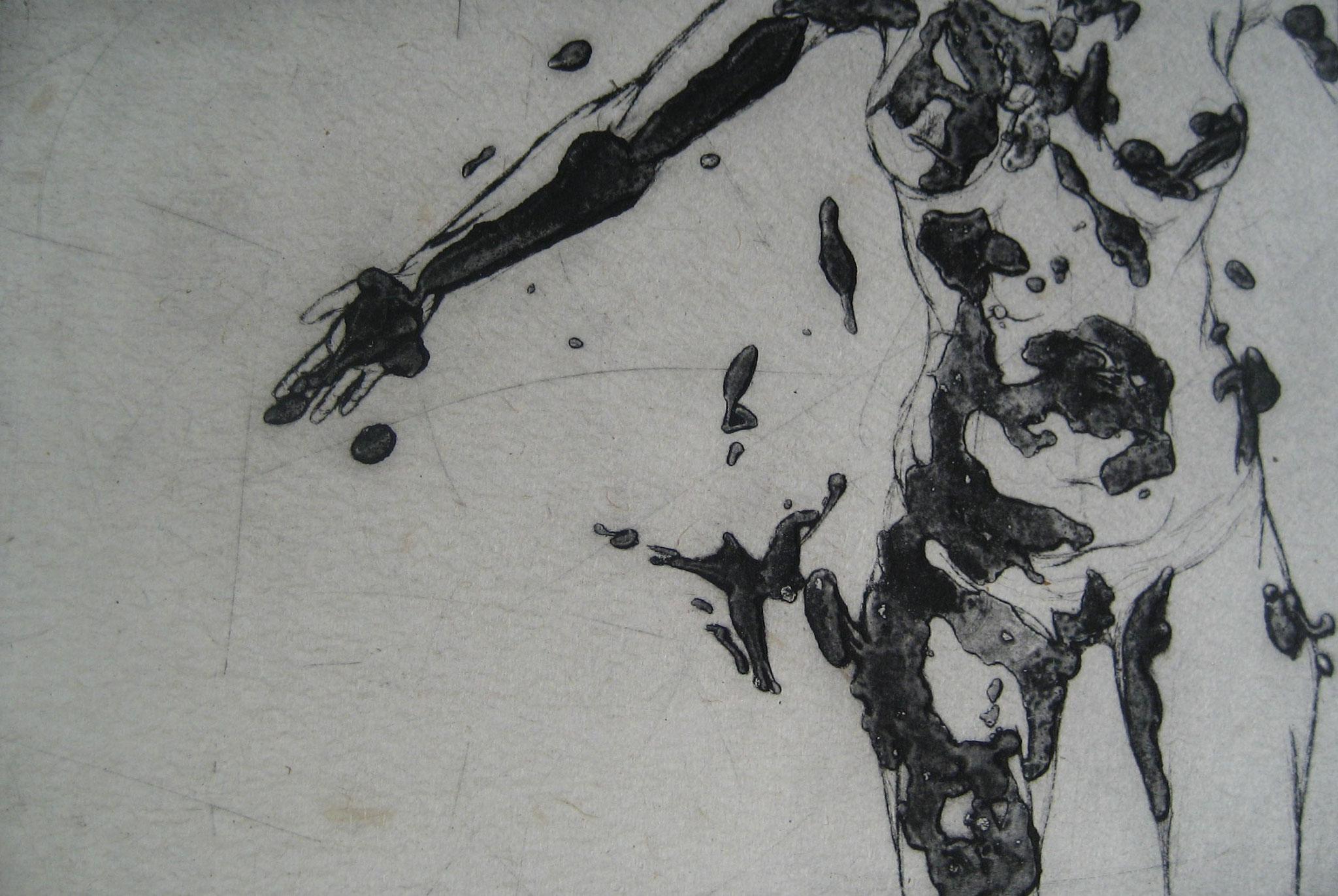 La Poupée encollée - Pointe sèche et carborundum sur zinc, chine appliqué - 2012