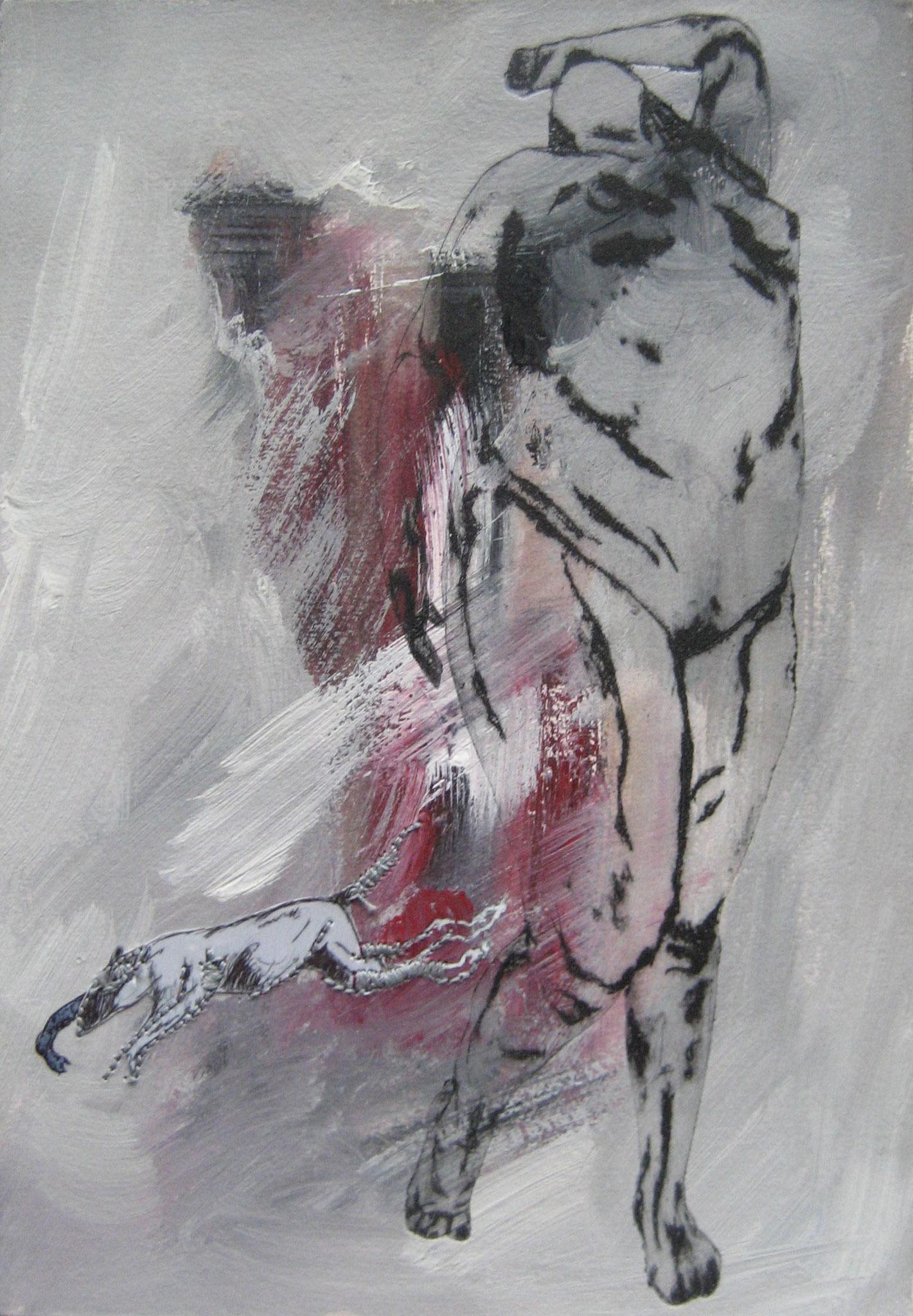 Sans titre - Pointe sèche et carborundum sur rhénalon, peinture acrylique, couture, calque et stylo - 2013