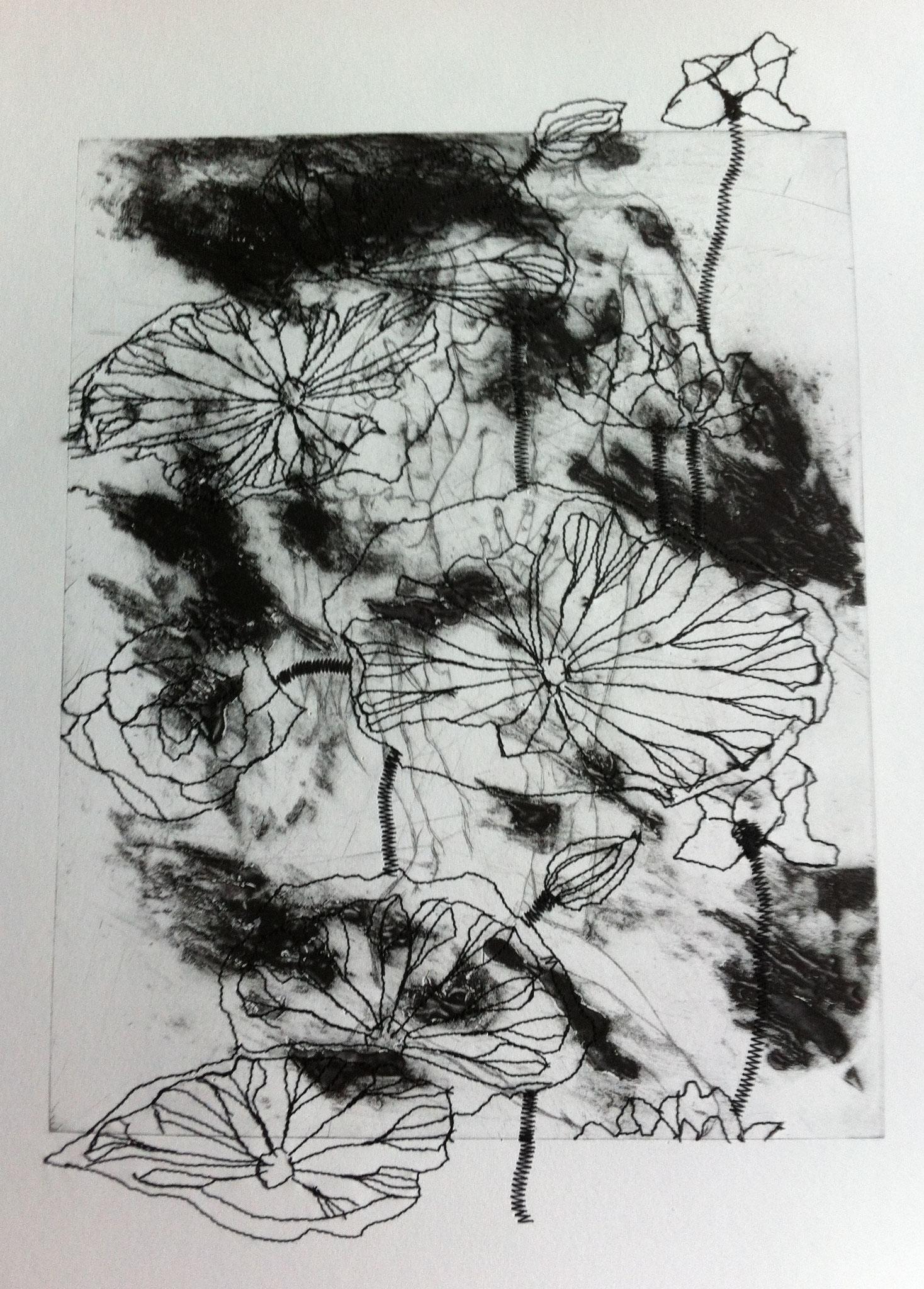 Les Ombelles - Pointe sèche et carborundum sur rhénalon, couture - 2014