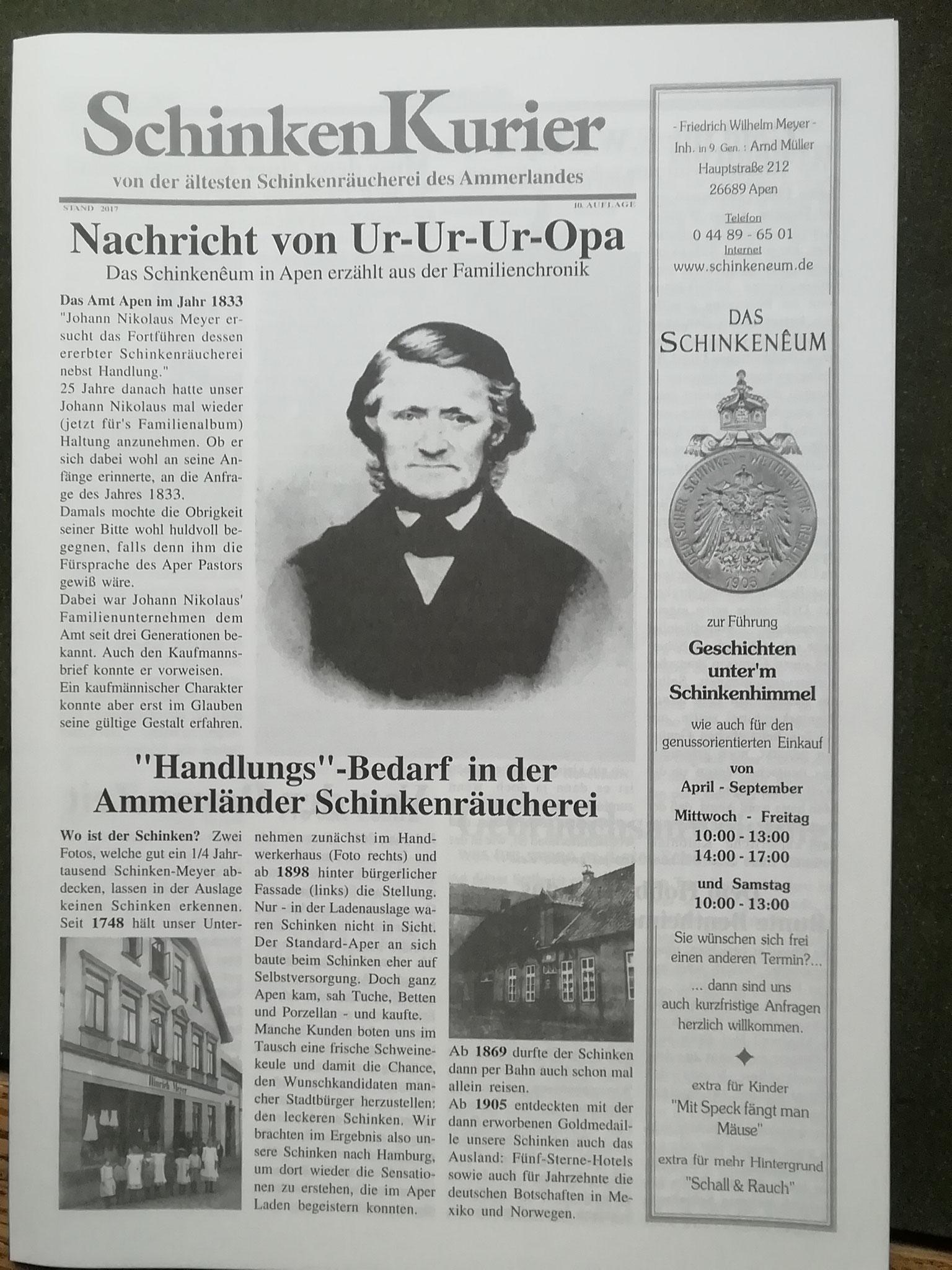 Johann Nikolaus Meyer gründete die Schinkenräucherei - zur Hörstation bitte hier klicken!