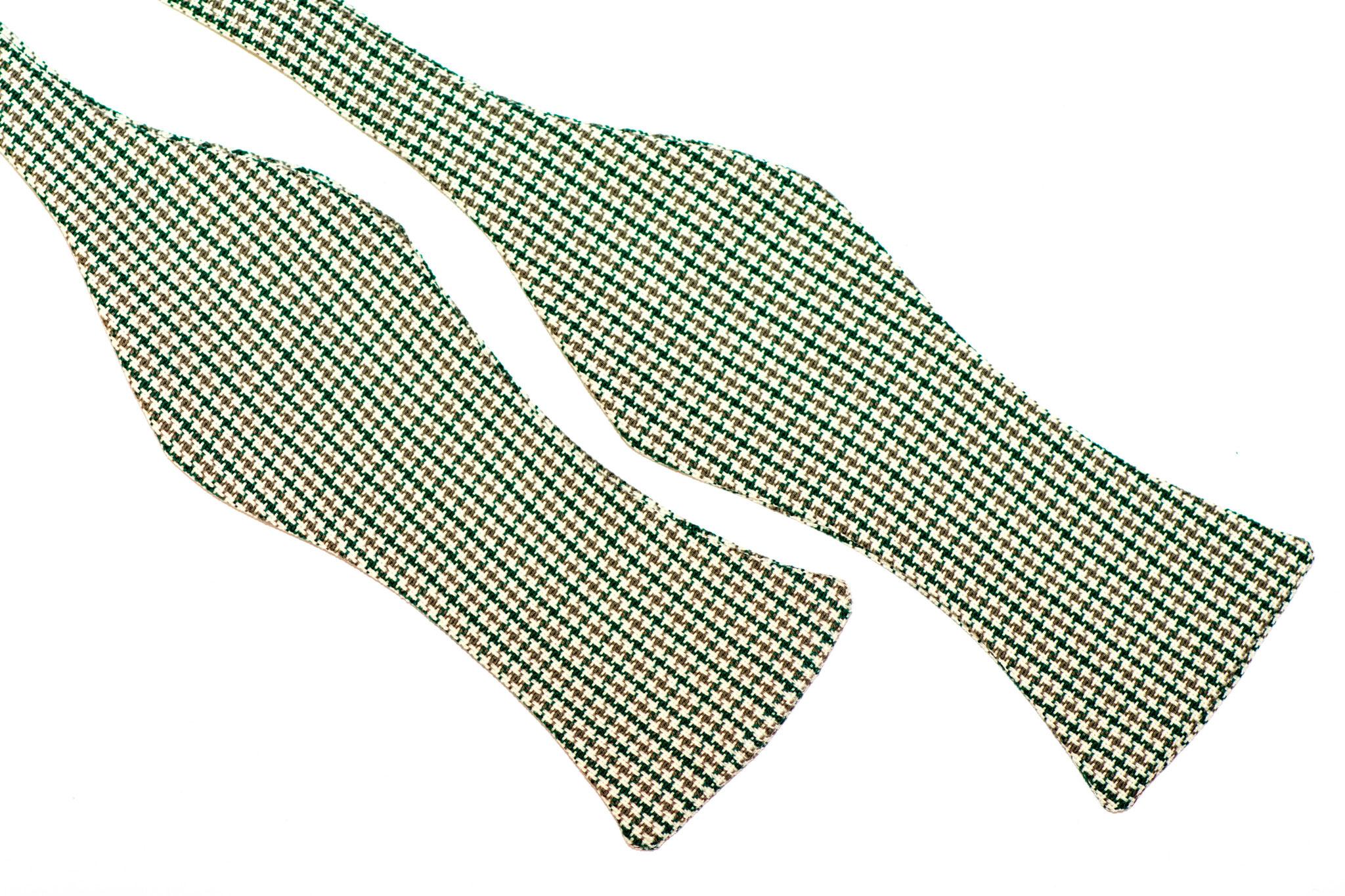Herren Anzug Schleife grün - beige - weiß mit Muster zum selberbinden – Selbstbinder