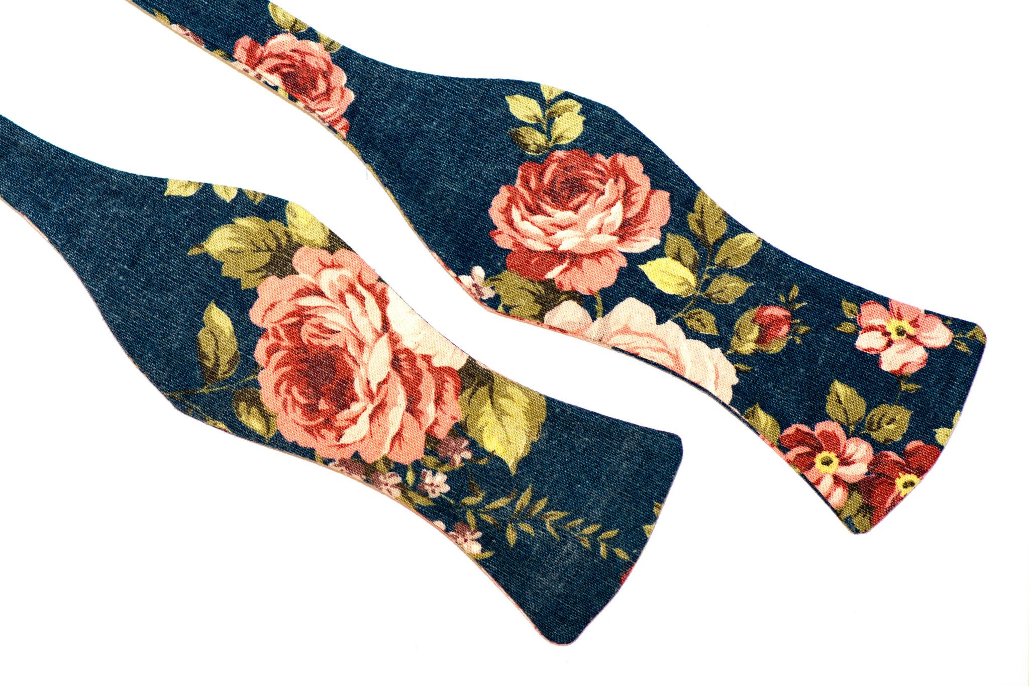 Blaue Herren Anzug Fliege mit Blumen zum selbstbinden - Selbstbinder dunkelblau