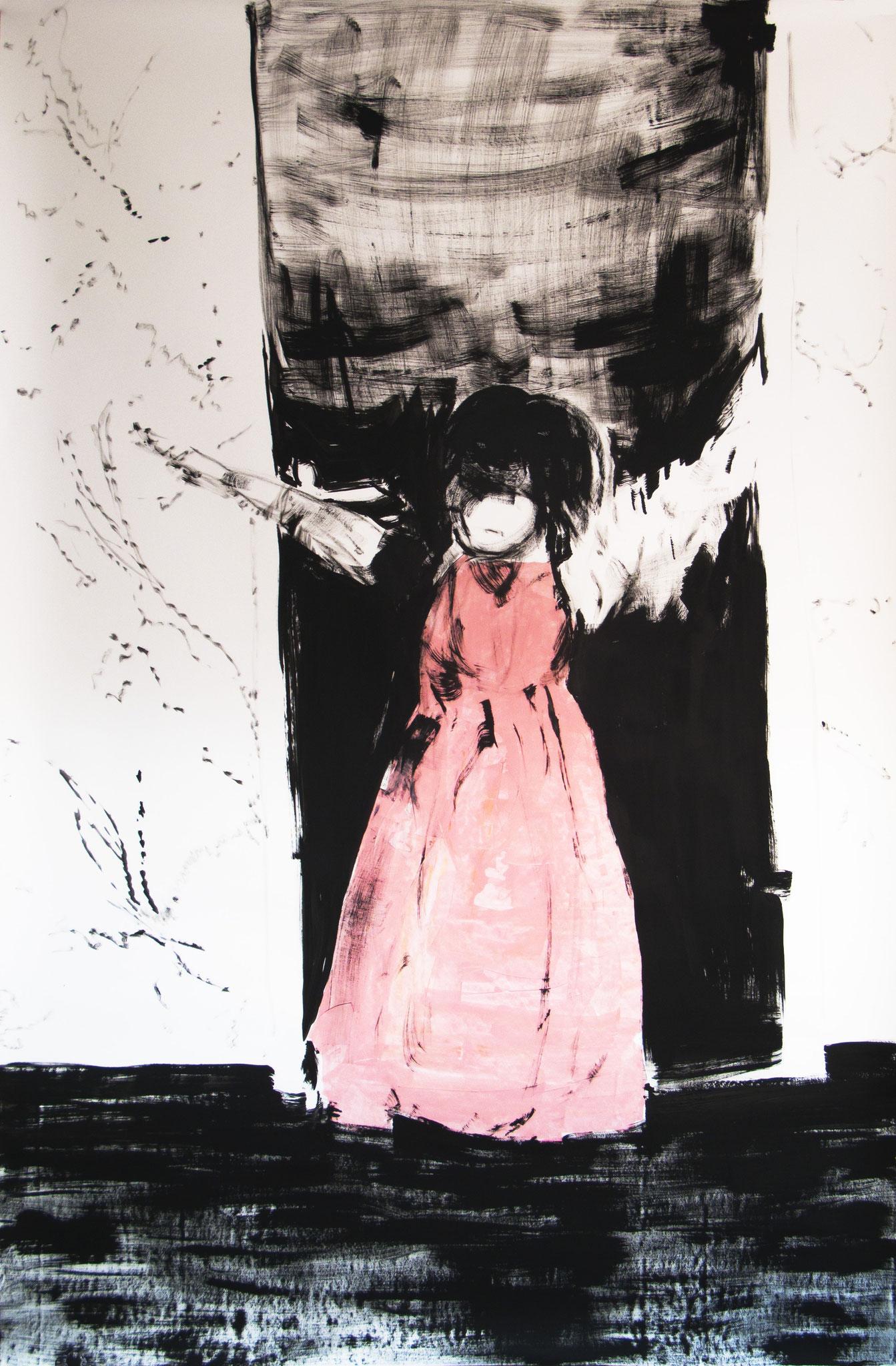 """""""Wohnzimmer-Prinzessin"""" 2014, 230 x 150 cm, Öl und Acryl auf Karton"""